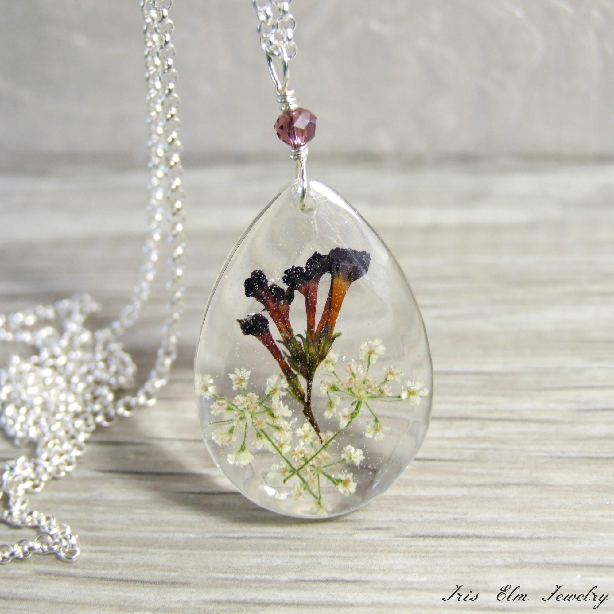 Teardrop Shaped Dark Purple & White Sterling Pressed Wildflower Necklace