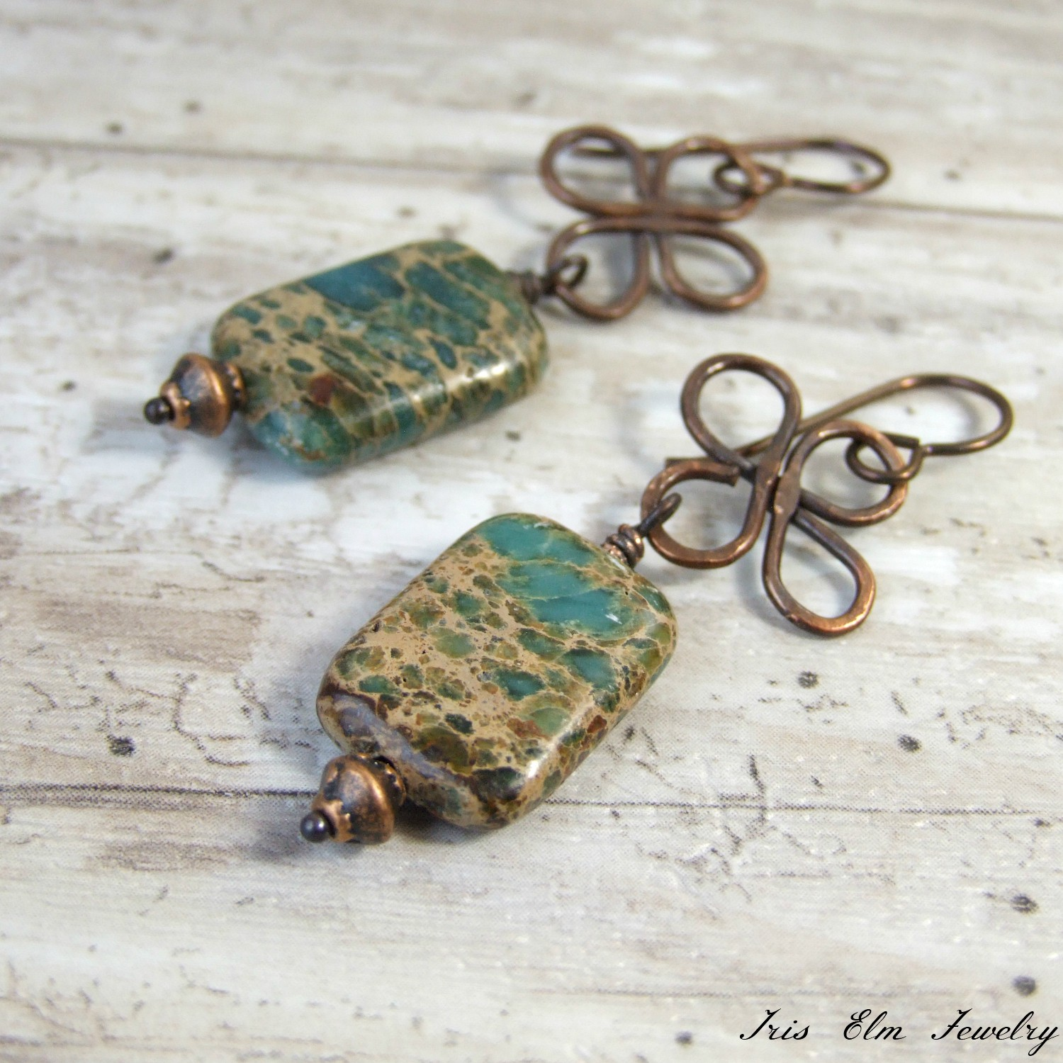 Aqua Terra Jasper Copper Boho Earrings