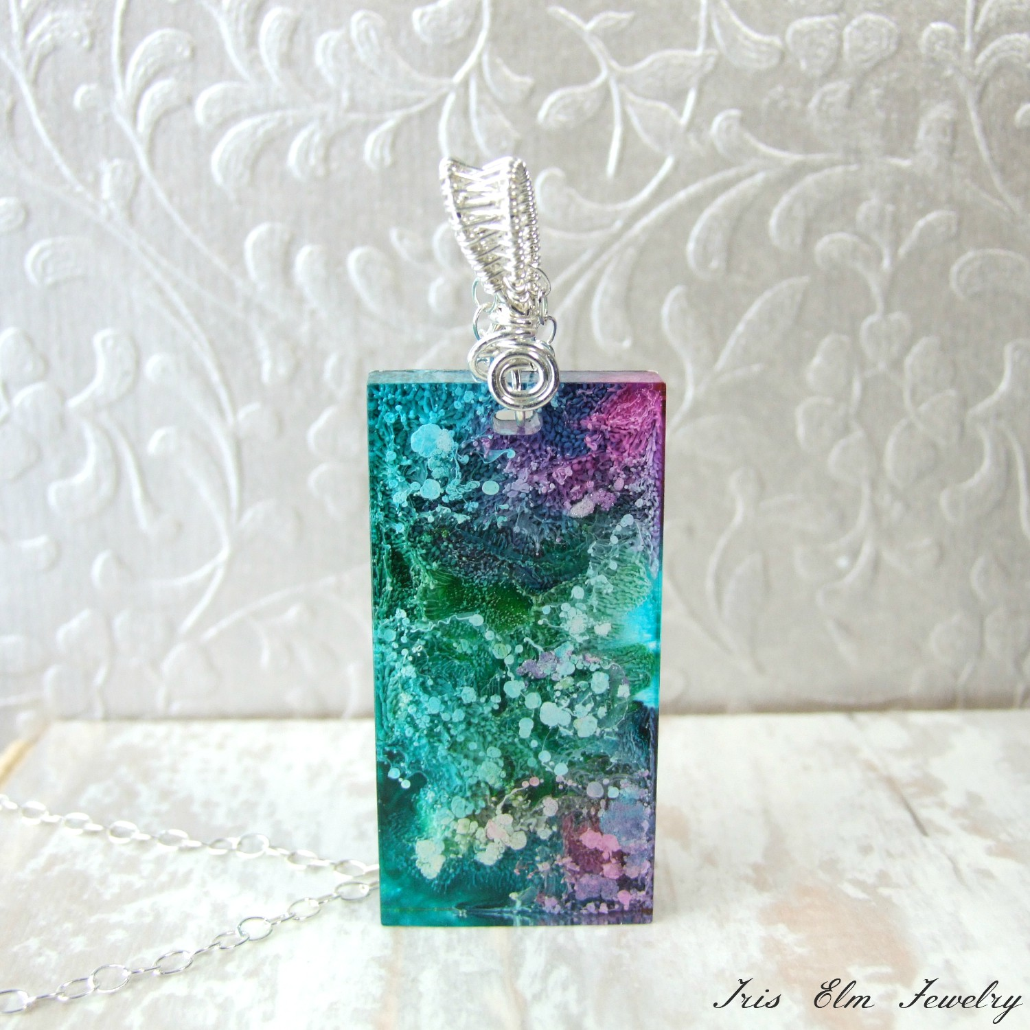 Beautiful Alcohol Ink Resin Pendant Necklace