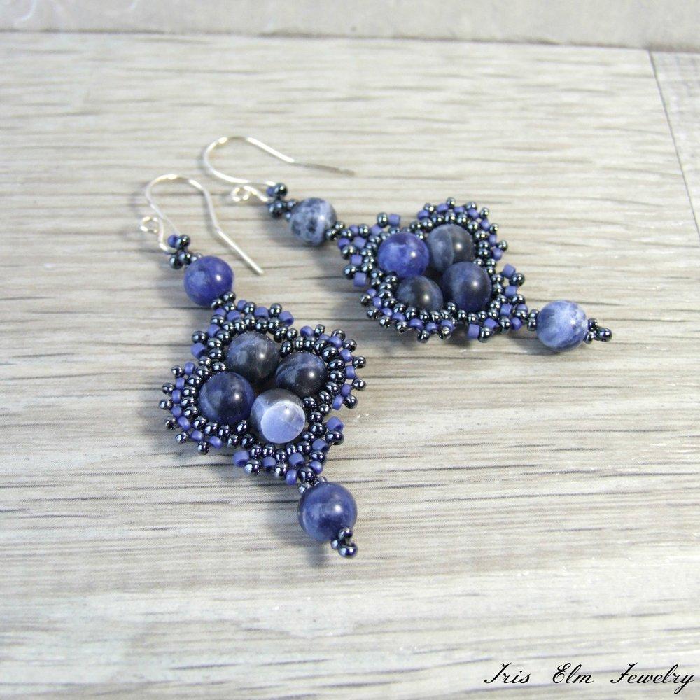 Denim Blue Seed Bead Earrings