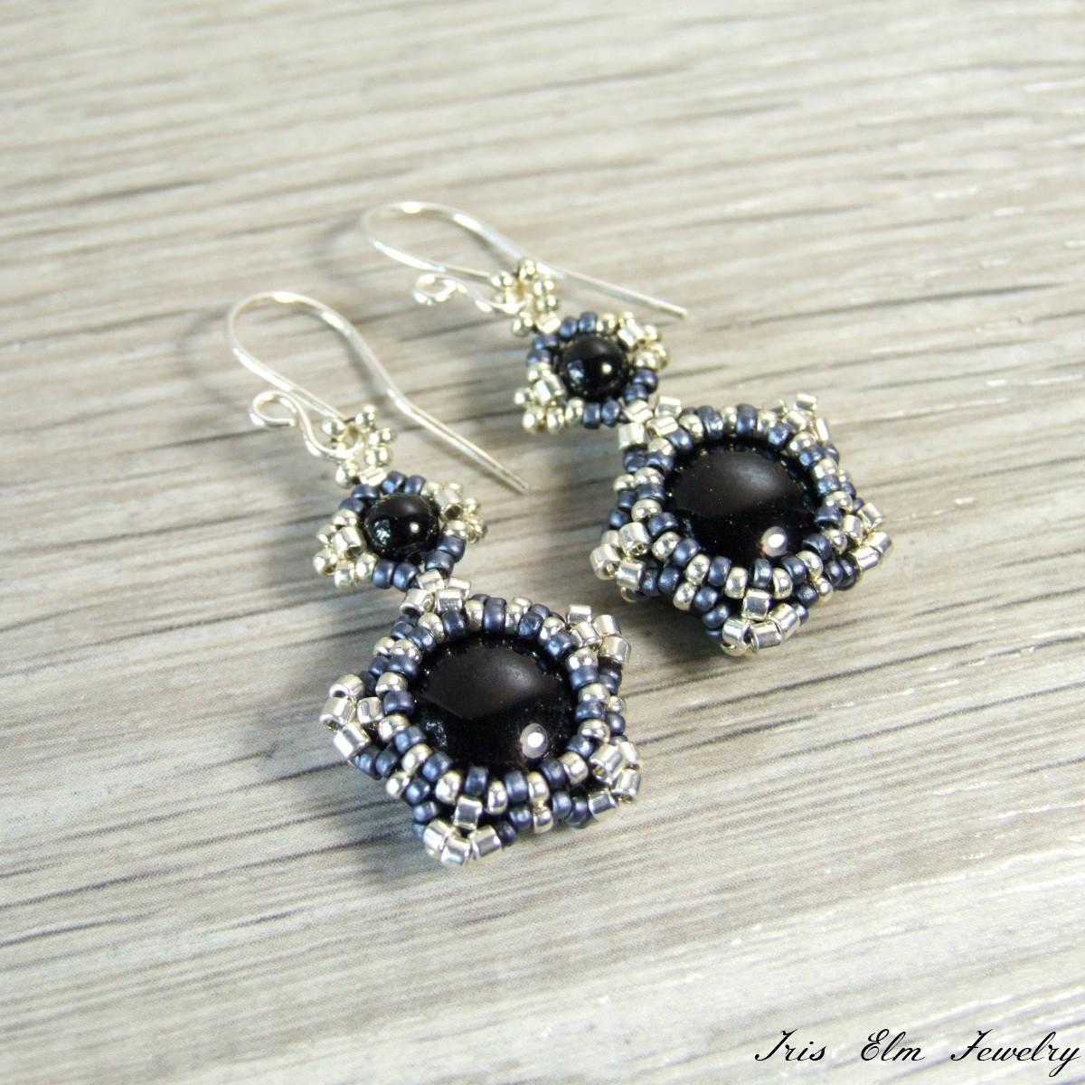 Black Onyx Star Beaded Earrings