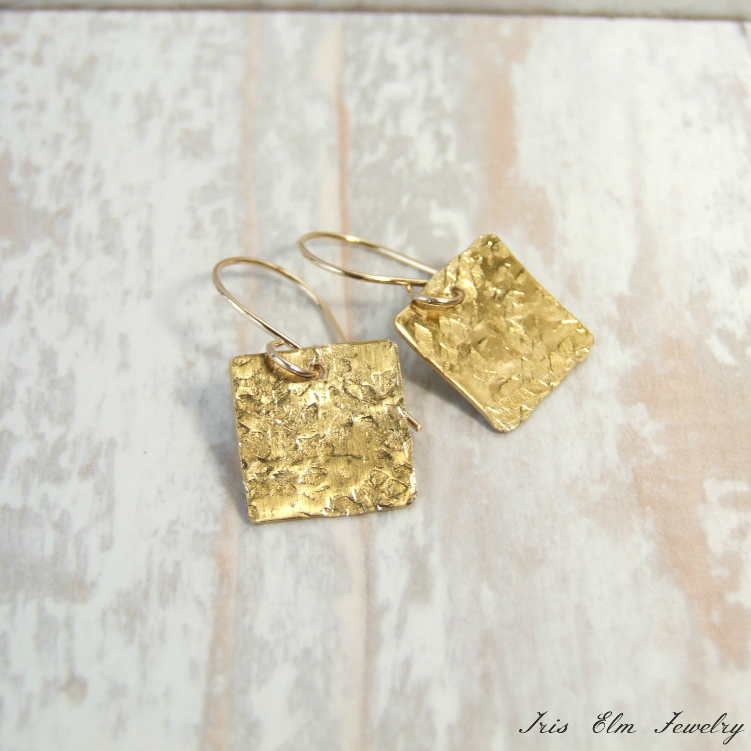 Small Square Hammered Brass Drop Earrings