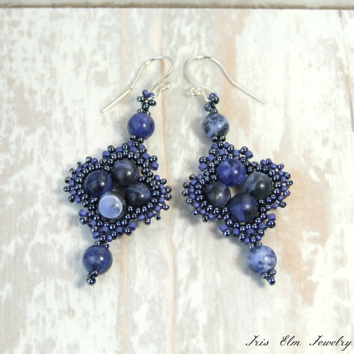 Blue Sodalite Boho Beaded Earrings