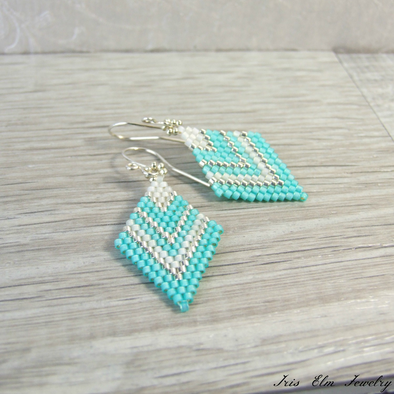 Mint Green & White Lightweight Diamond Shape Glass Earrings