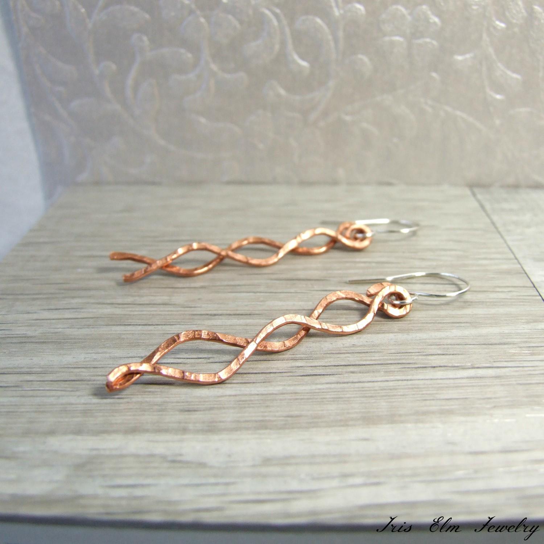 Copper Wave Long Dangle Earrings