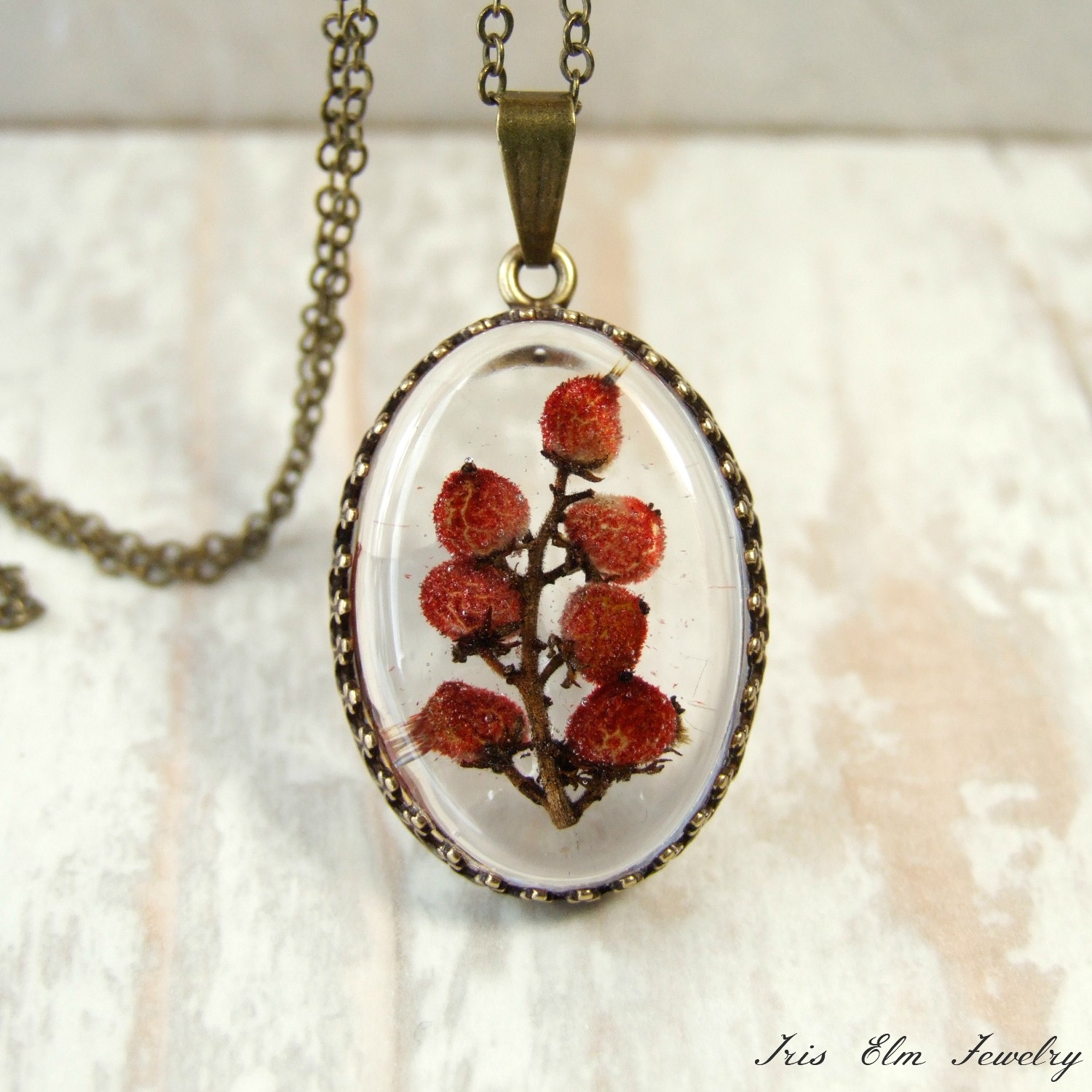 Red Sumac Berries Resin Pendant Necklace
