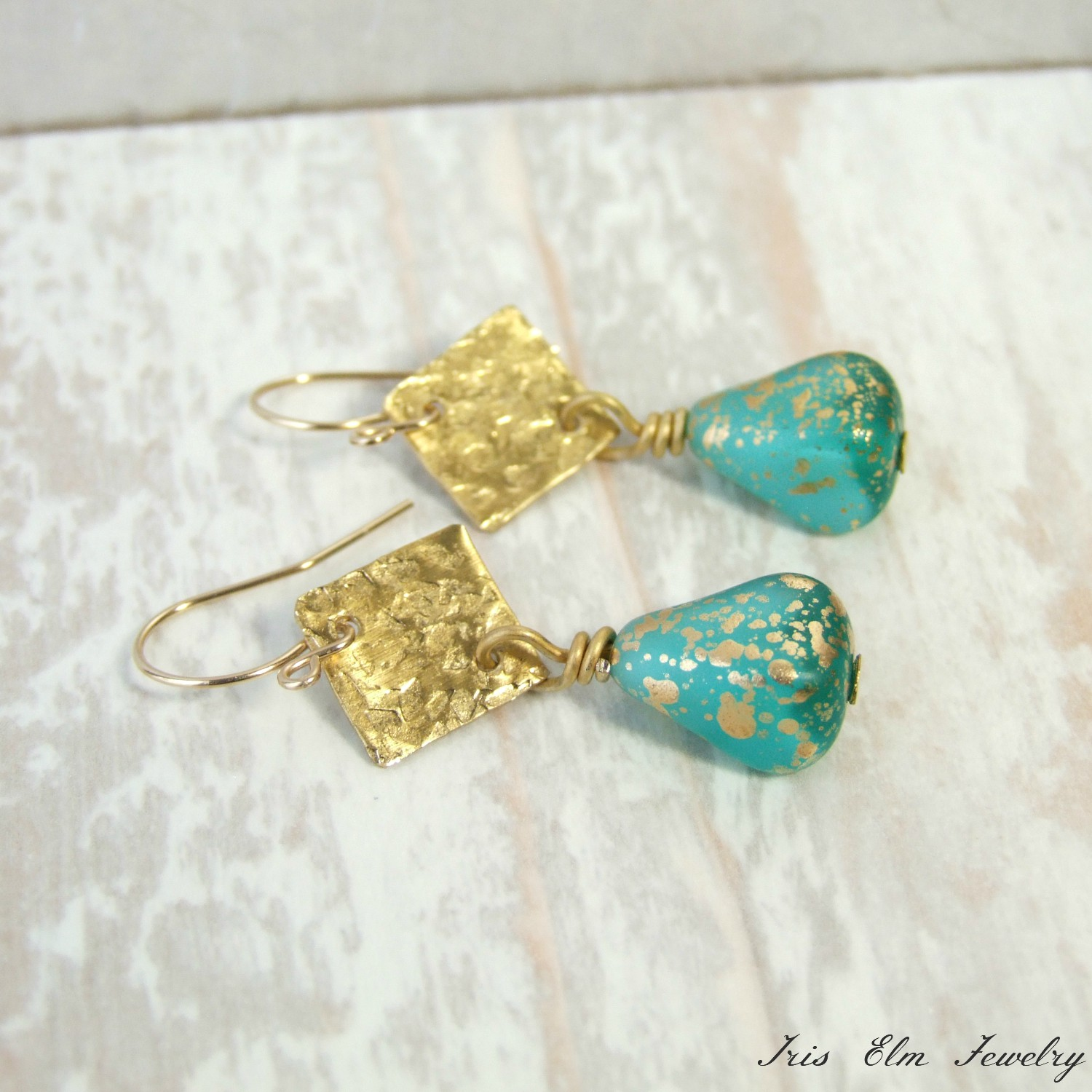 Aqua Blue & Gold Glass Hammered Brass Dangle Earrings