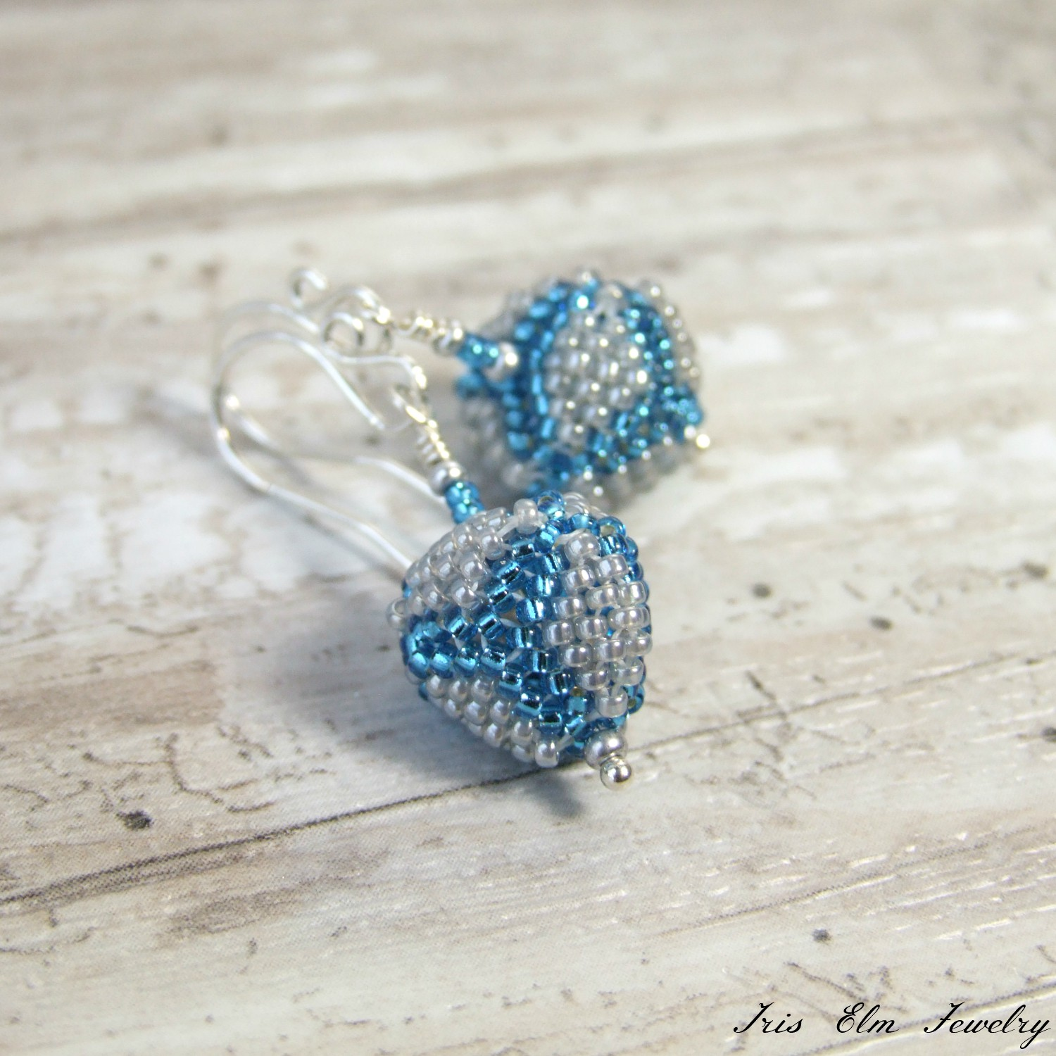 Blue & Grey Small Triangle Beaded Drop Earrings