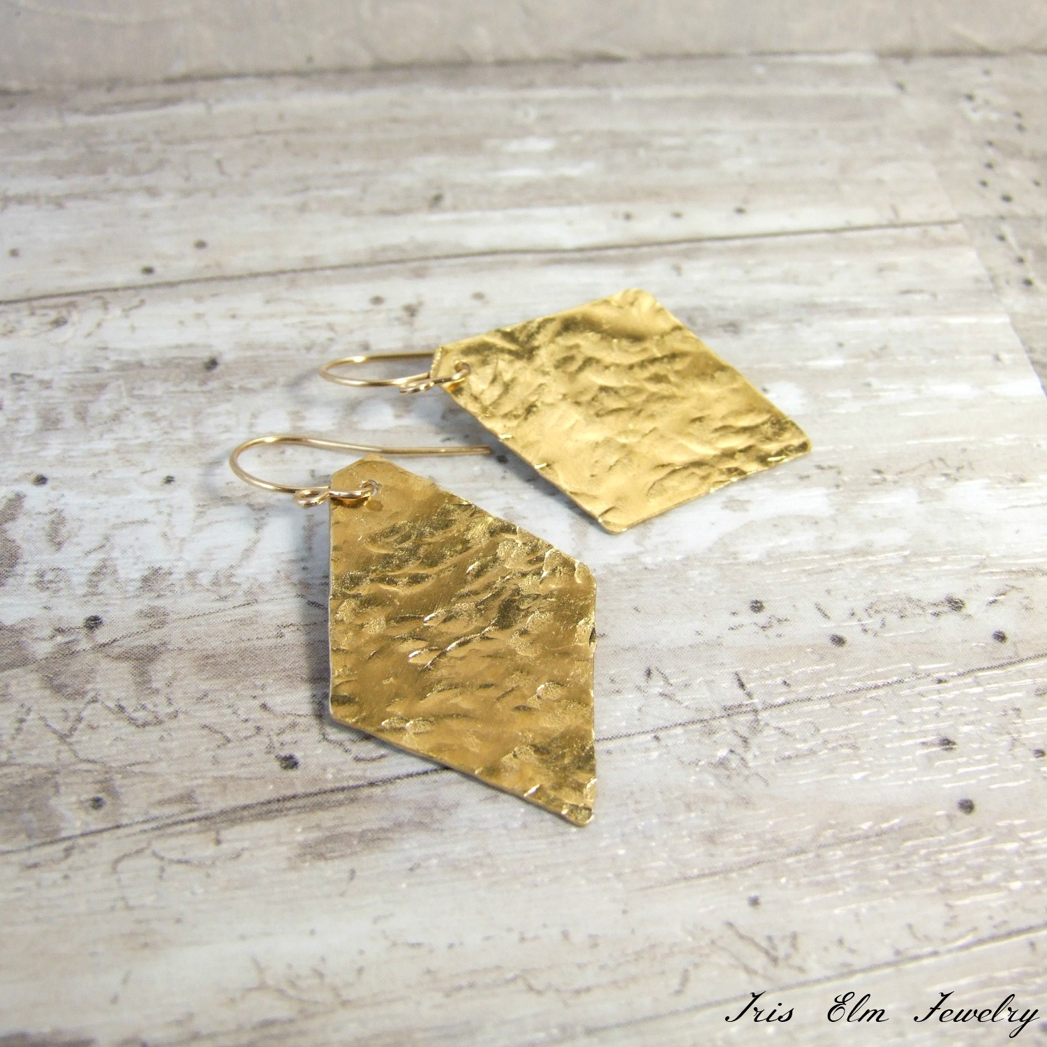 Hammered Brass Diamond Shaped Dangle Earrings
