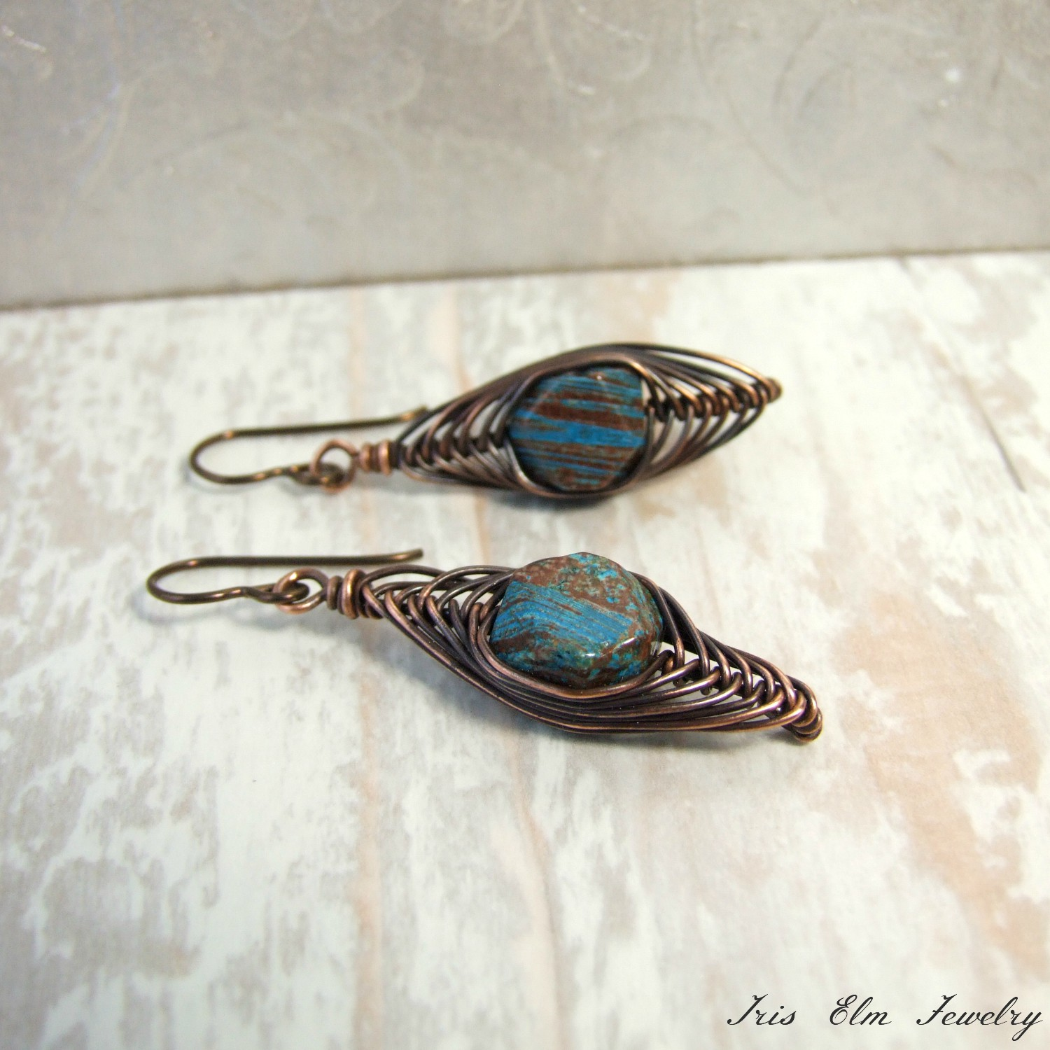 Copper  Wire Wrapped Herringbone Blue Sky Jasper Earrings