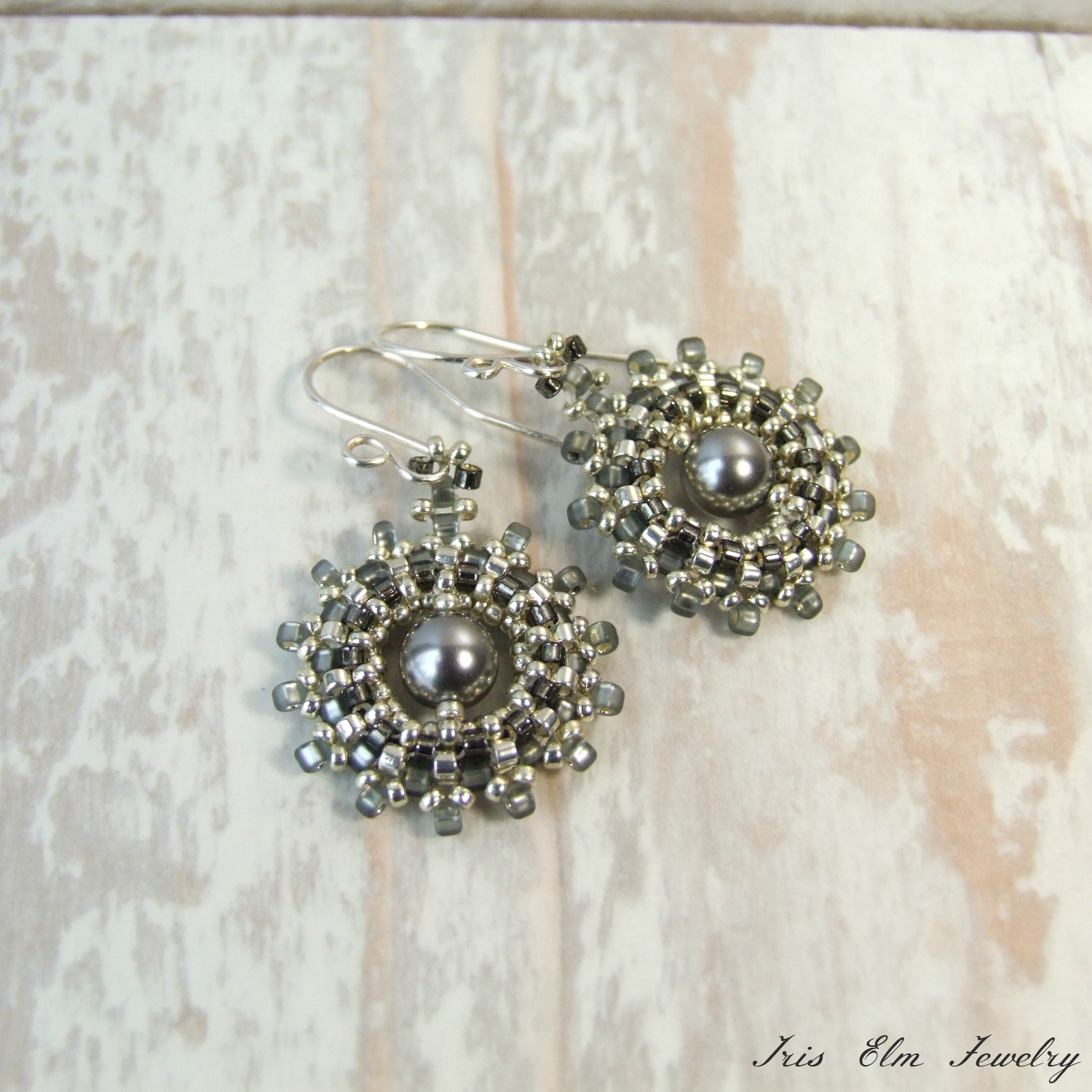 Beadwoven Silver & Grey Swarovski Pearl Dangle Earrings