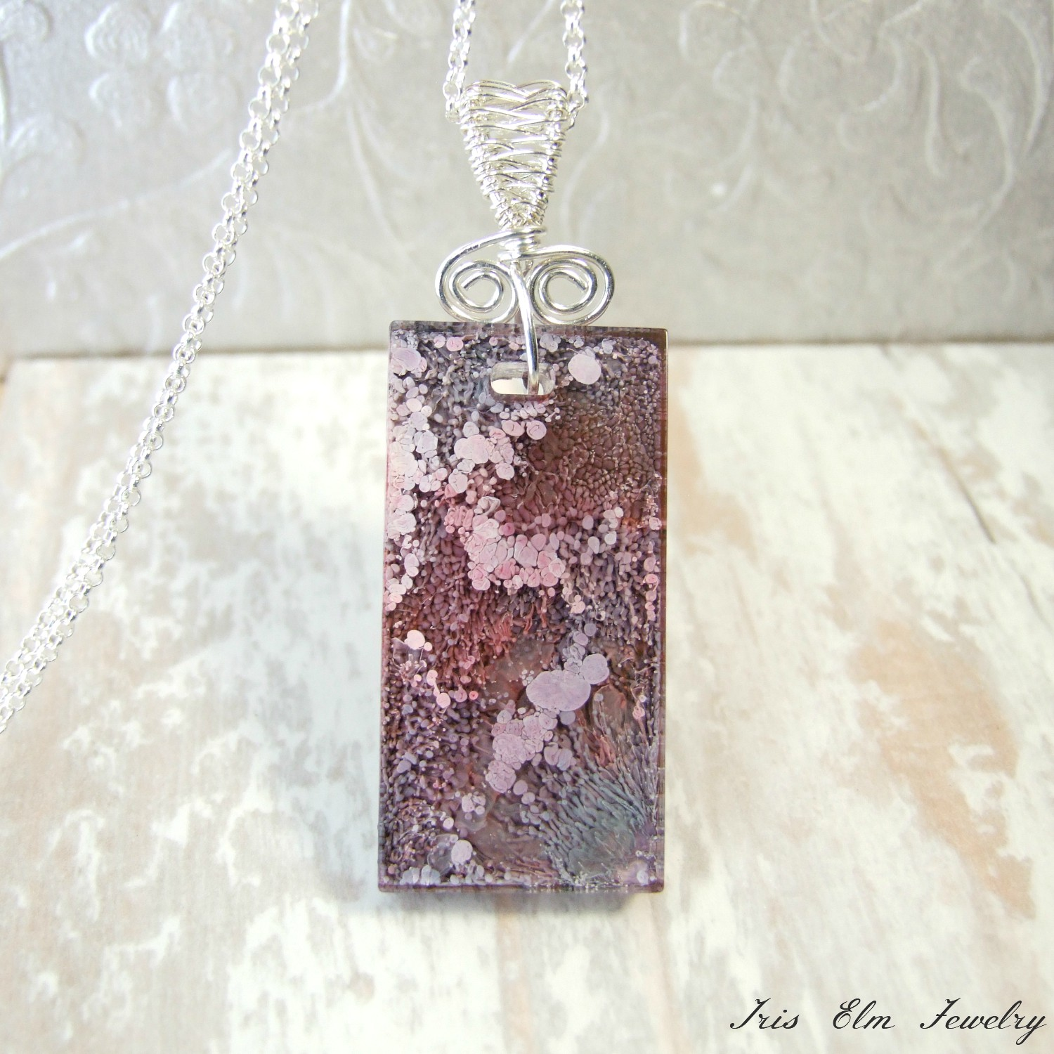 Pink Resin Alcohol Ink Artisan Pendant Necklace