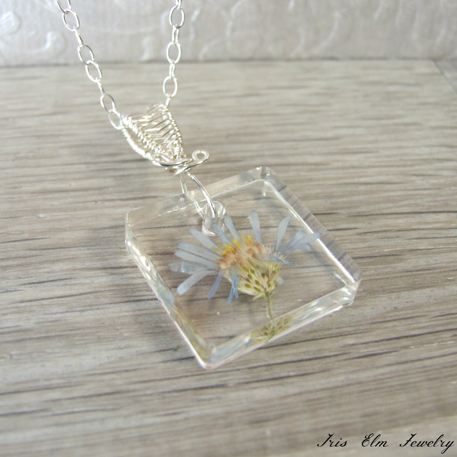 Purple Aster Minnesota Wildflower Resin Necklace