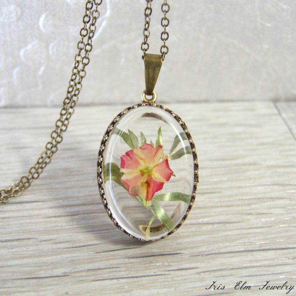 pink pressed flower pendant