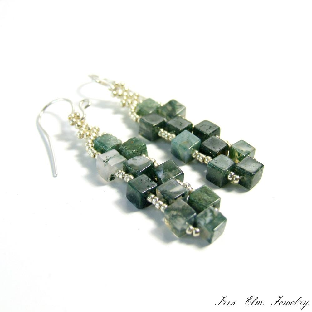 Moss Agate Cube Earrings