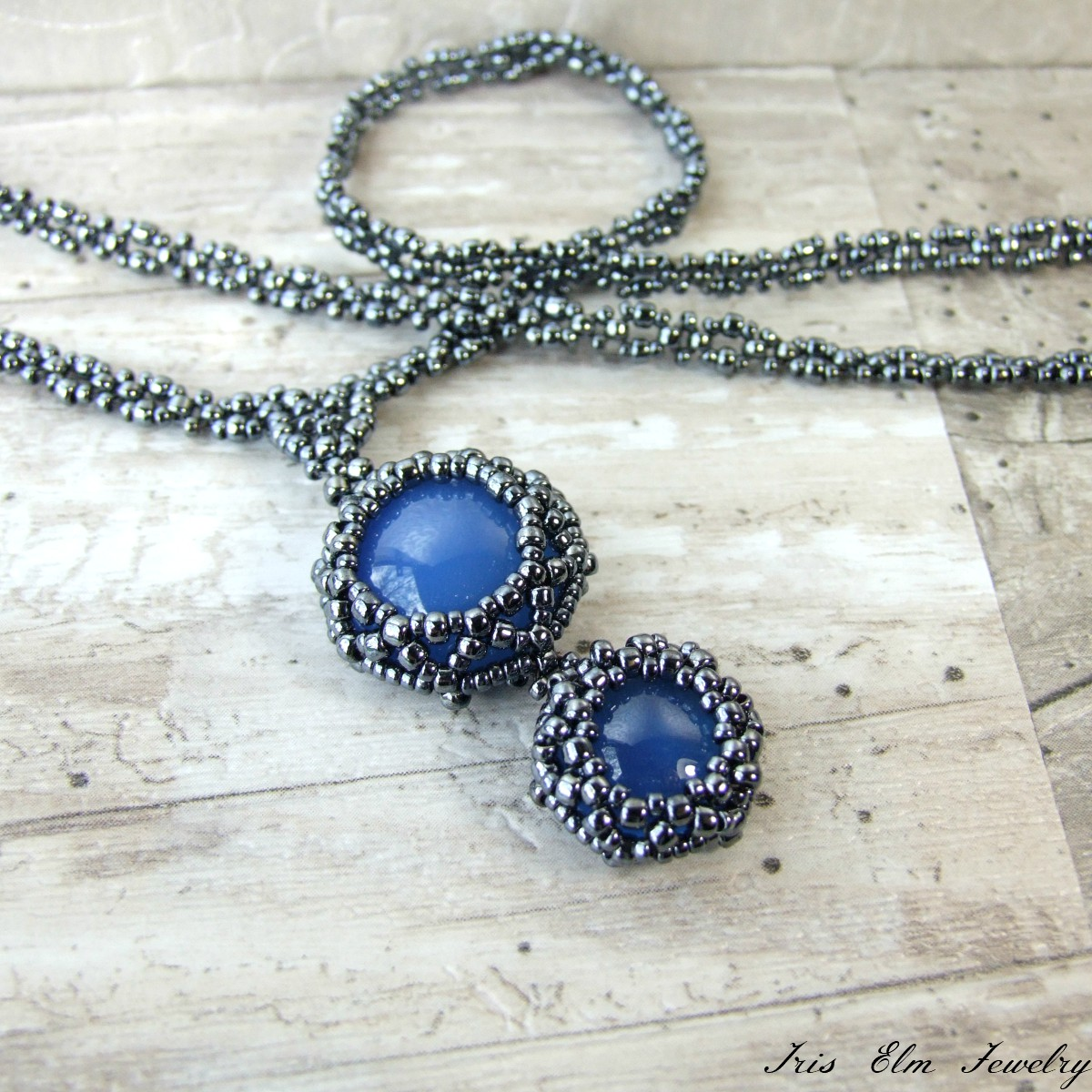 Blue Agate Beaded Pendant Necklace
