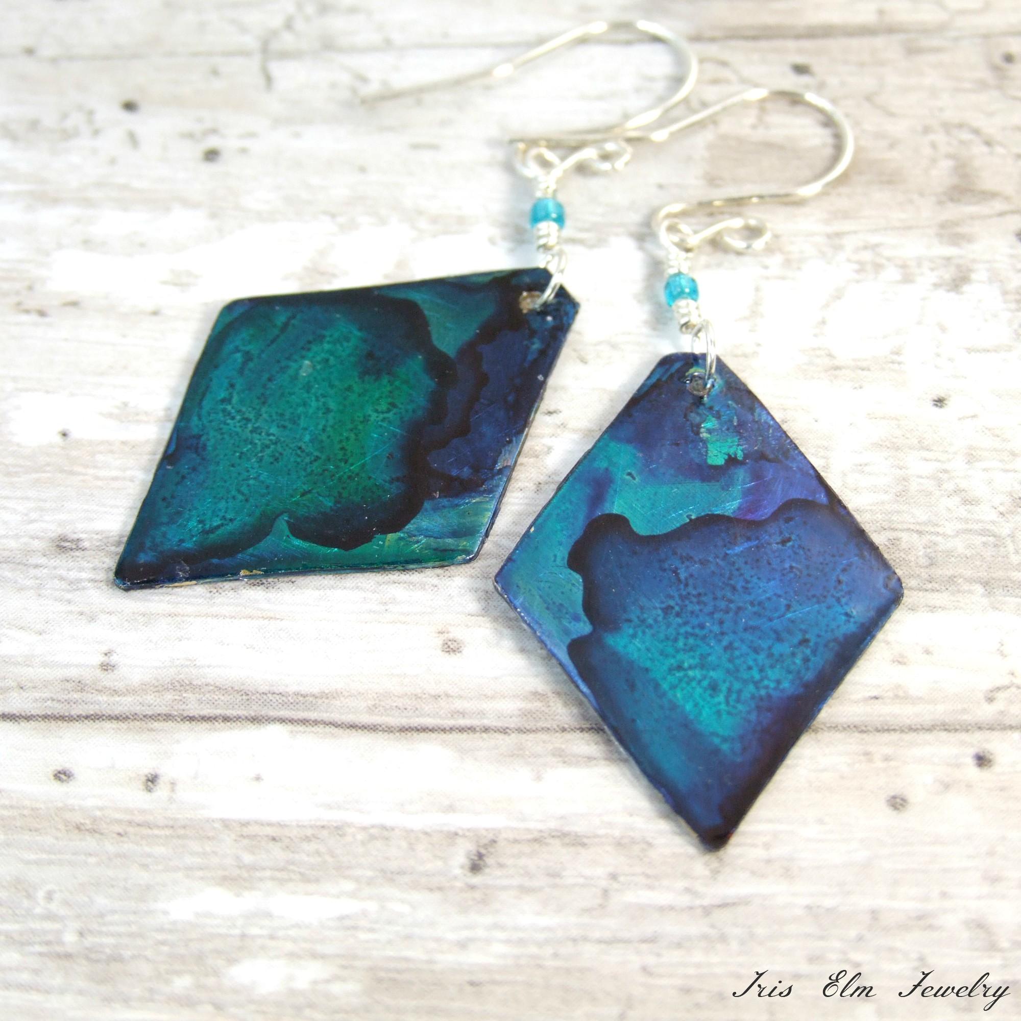 Blue & Teal Hand Painted Metal Earrings