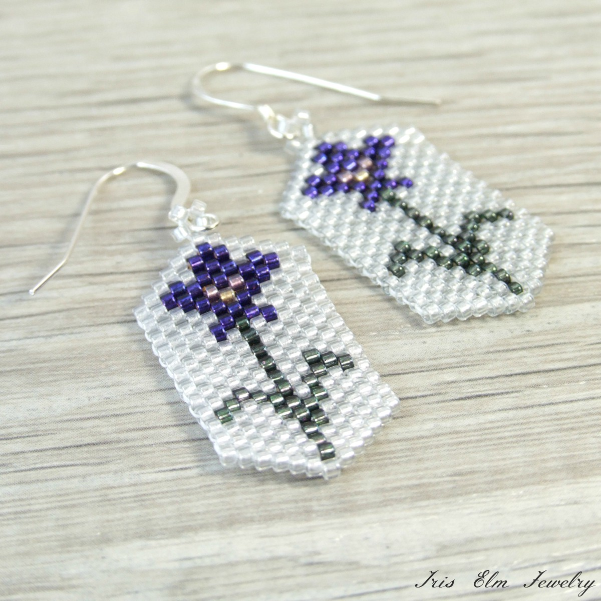 Purple Iris Seed Bead Earrings