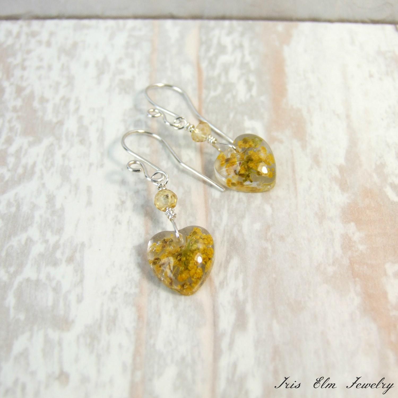 Small Citrine & Yellow Yarrow Wildflower Heart Drop Earrings