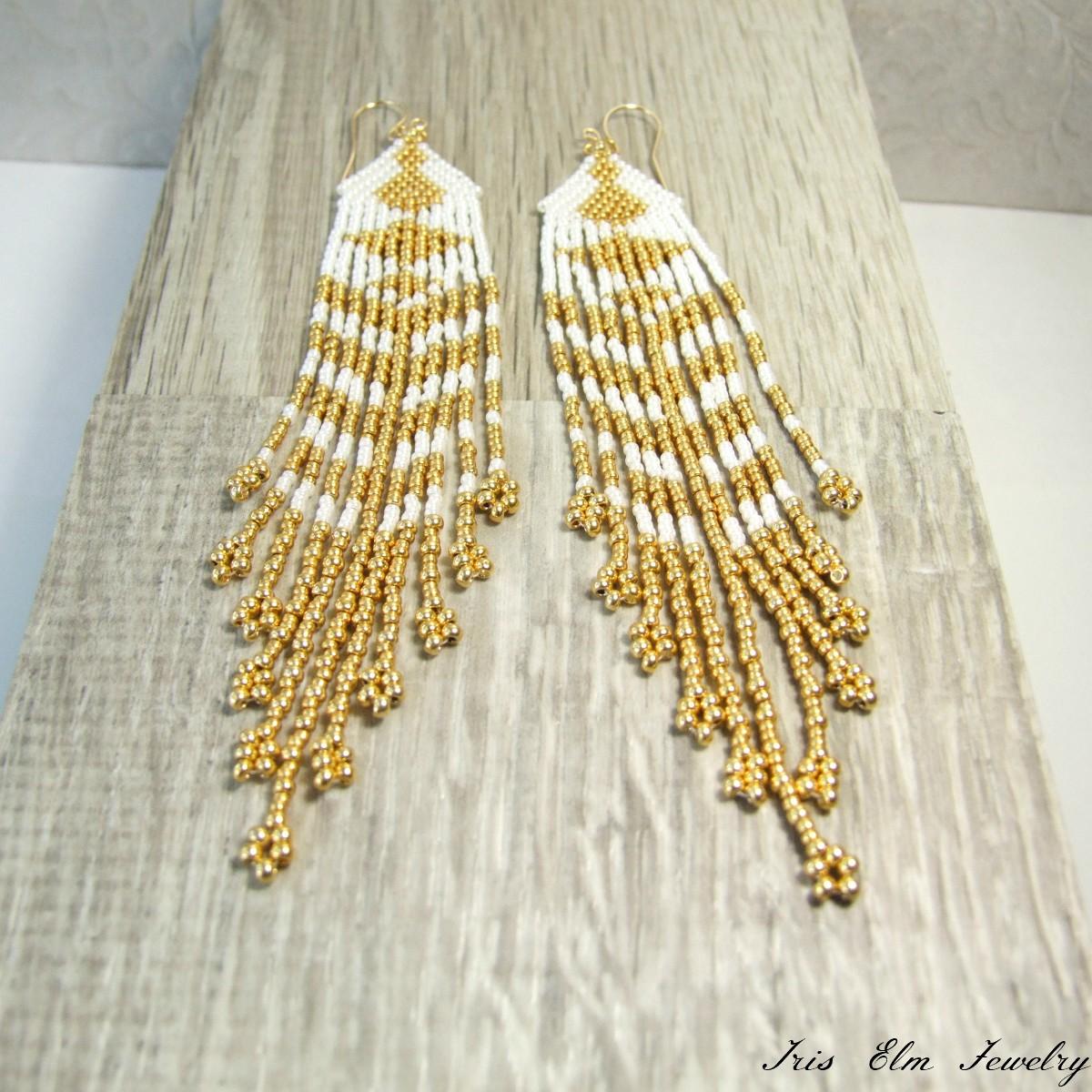 Bohemian Gold & White Fringe Earrings