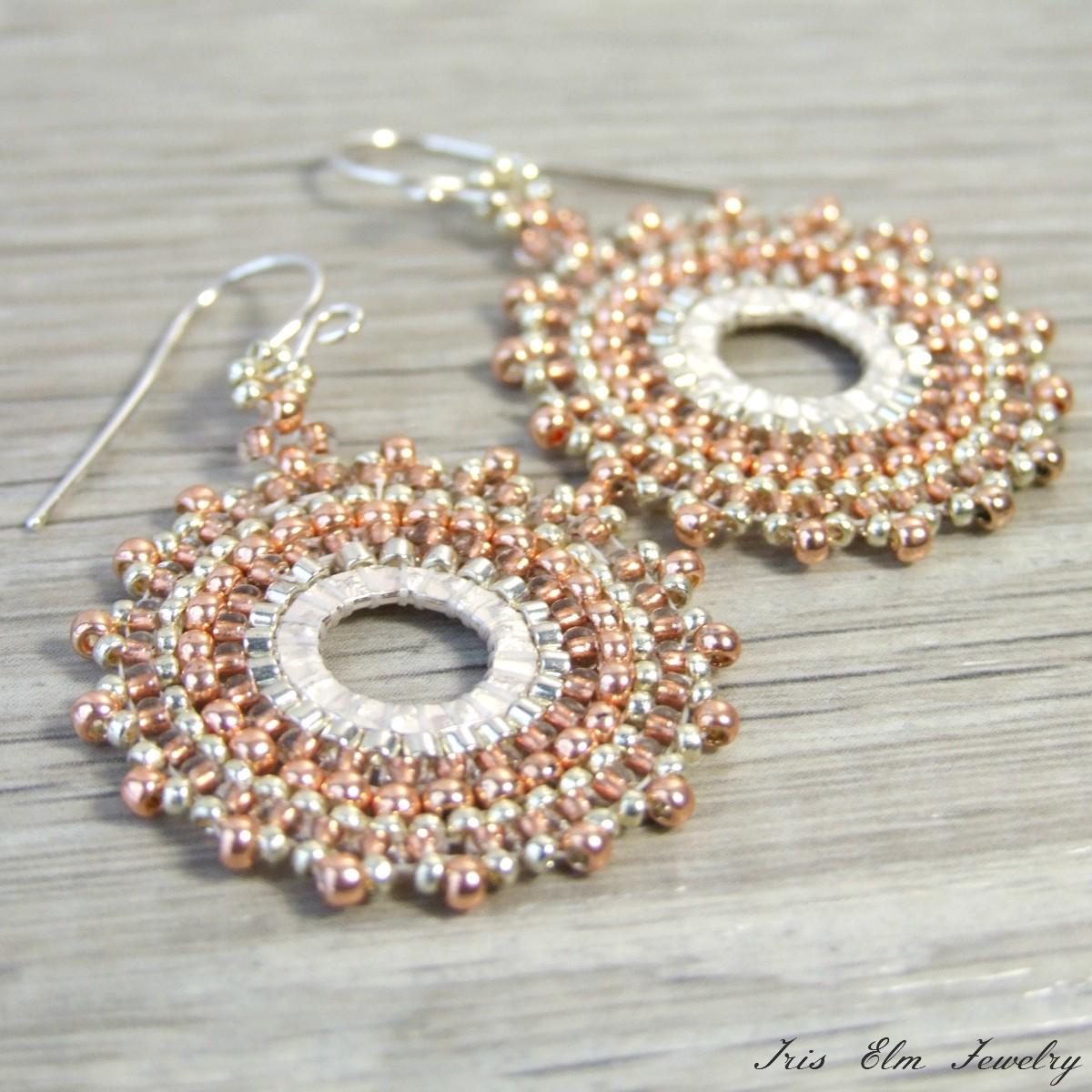 Copper & Silver Seed Bead Hoop Earrings