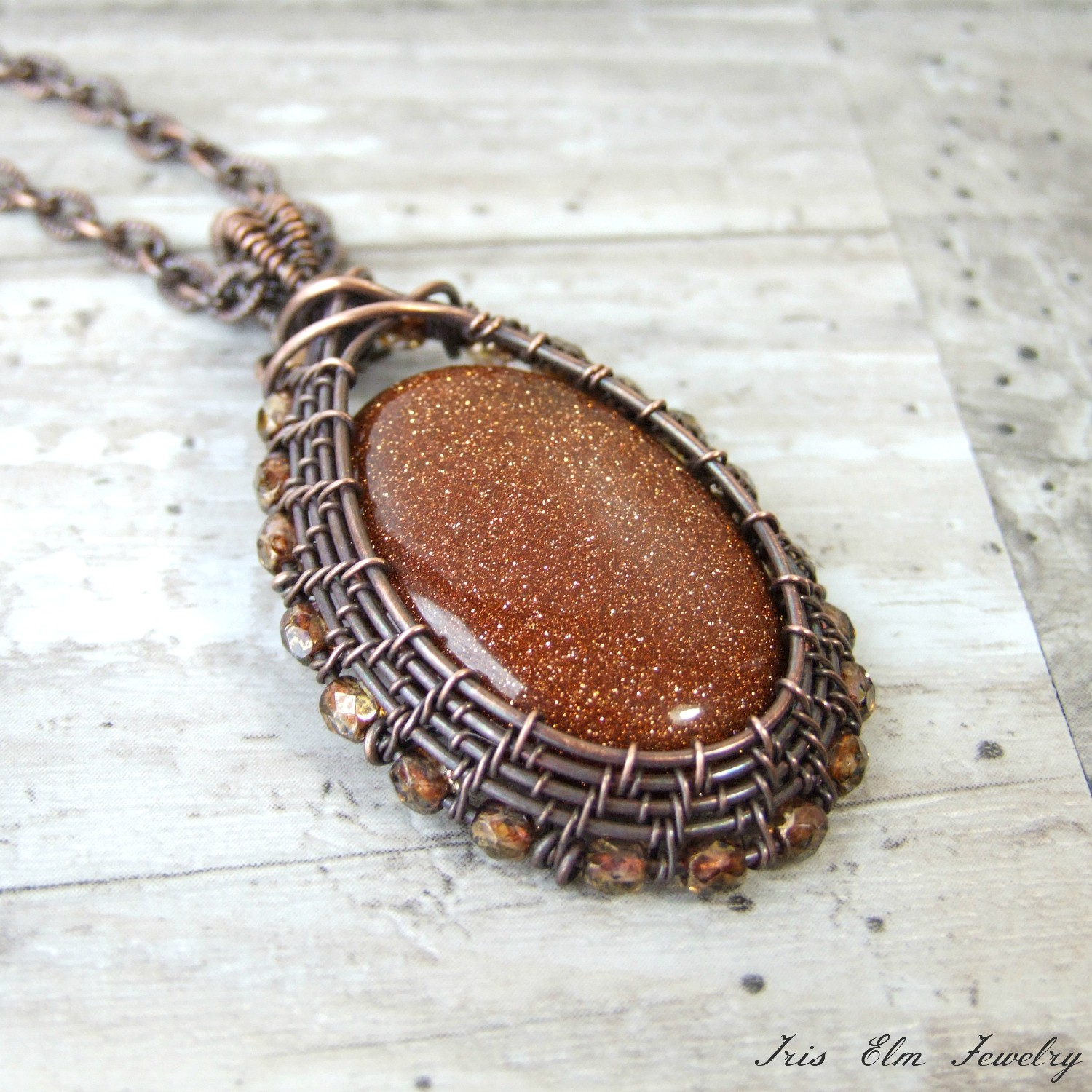 Brown Goldstone Copper Wire Wrapped Pendant Necklace
