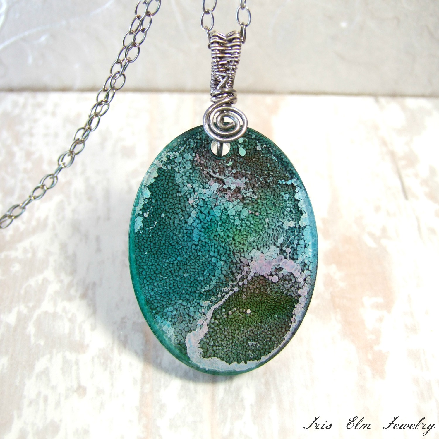 Oval Resin Alcohol Ink Unique Boho Pendant Necklace
