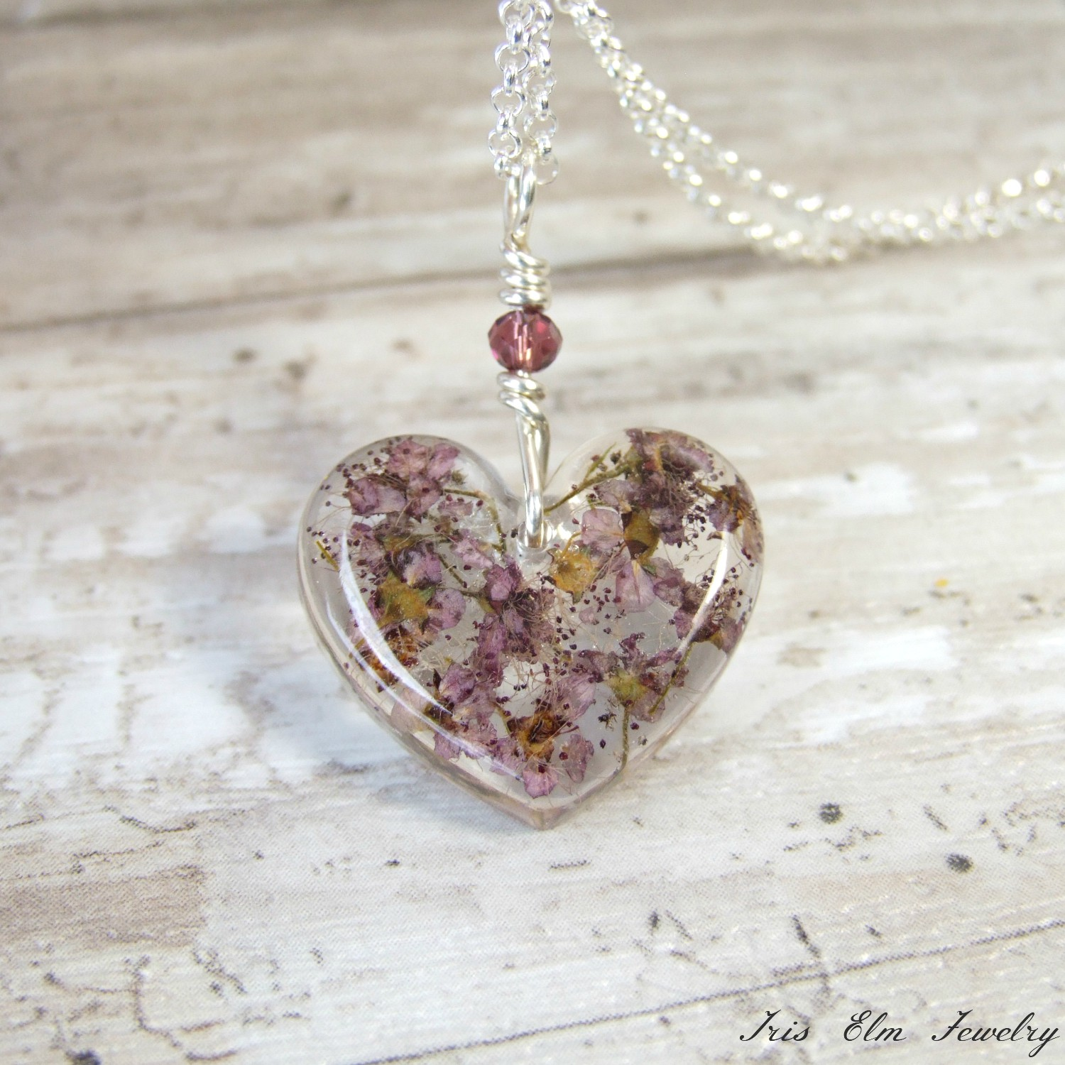 Mauve Real Flowers Small Heart Pendant Necklace
