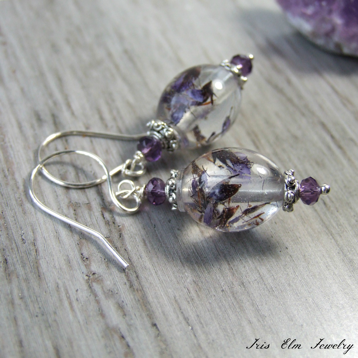 Vintage Style Purple Pressed Wildflower Drop Earrings