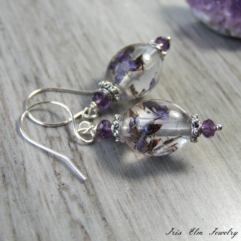 Vintage Style Purple Pressed Wildflower Drop Earrings