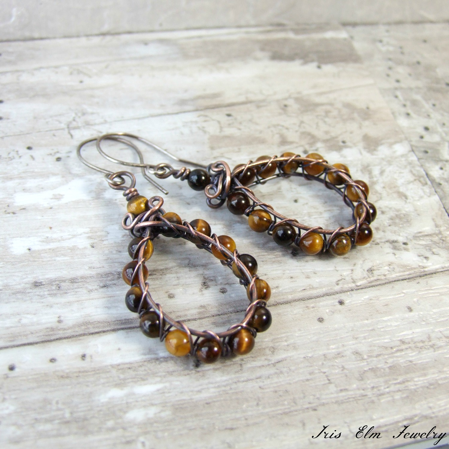 Copper Wire Wrapped Teardrop Tiger Eye Earrings