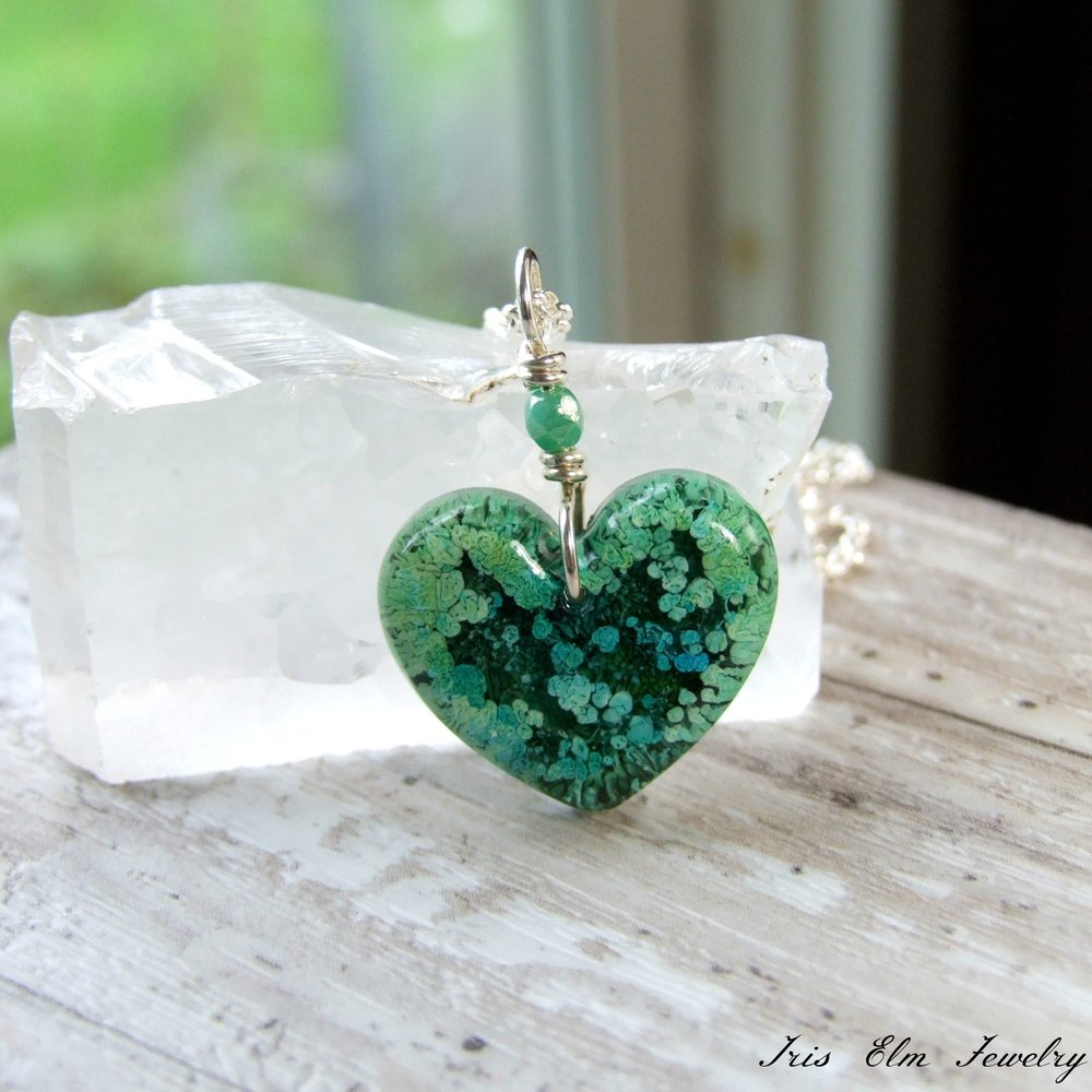 Blue and Green Resin Pendant Necklace
