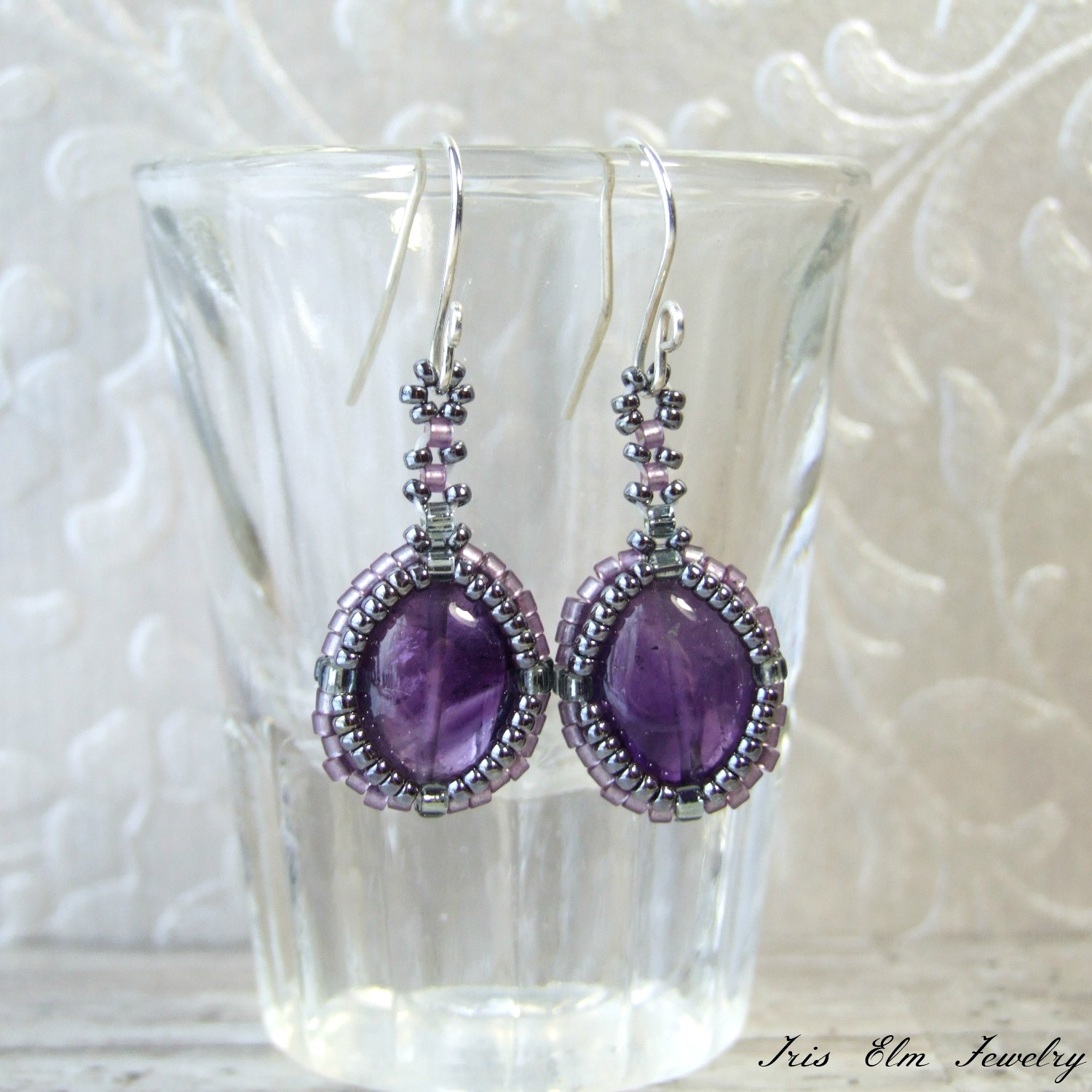 Dark Purple Amethyst Drop Earrings