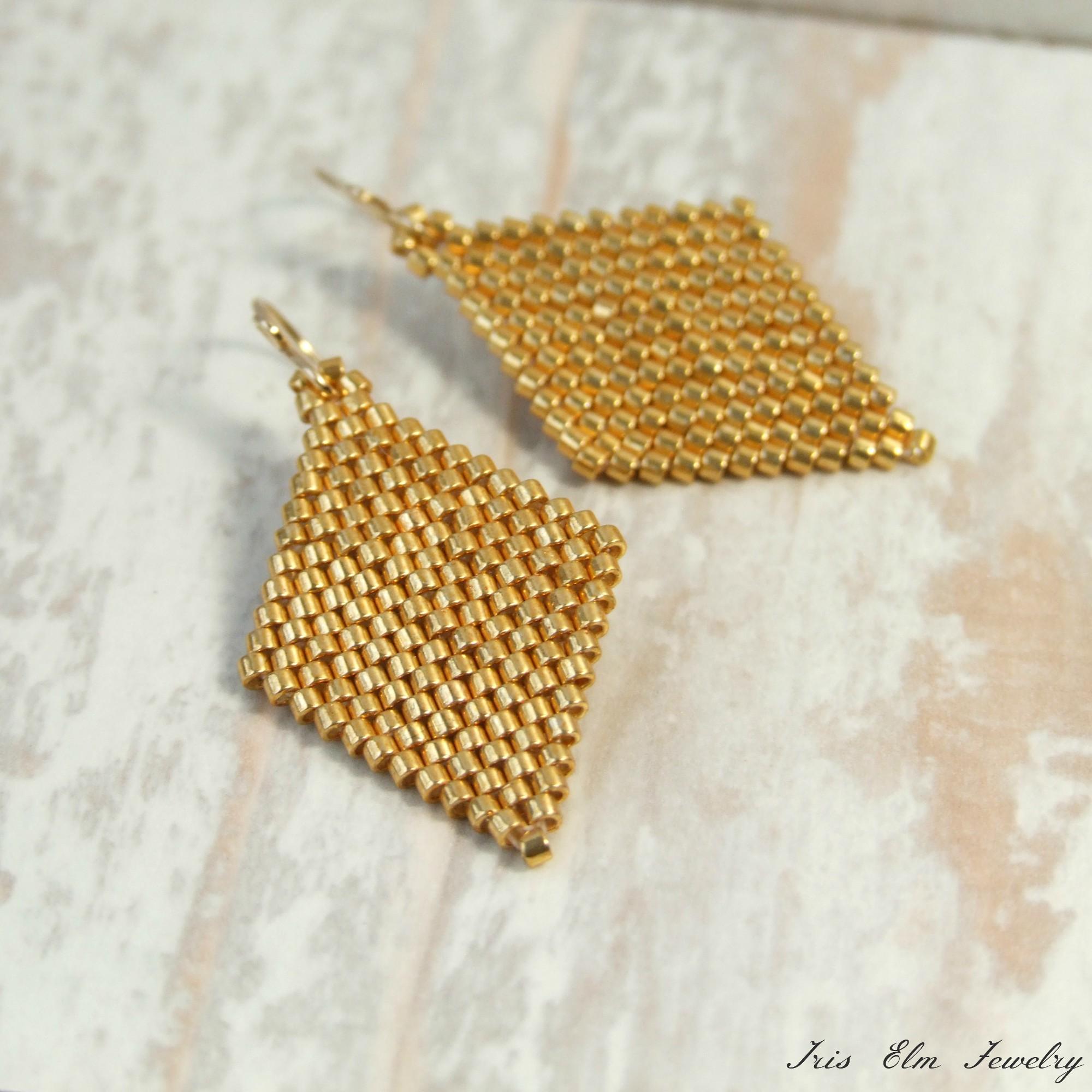 Geometric Gold Seed Bead Earrings