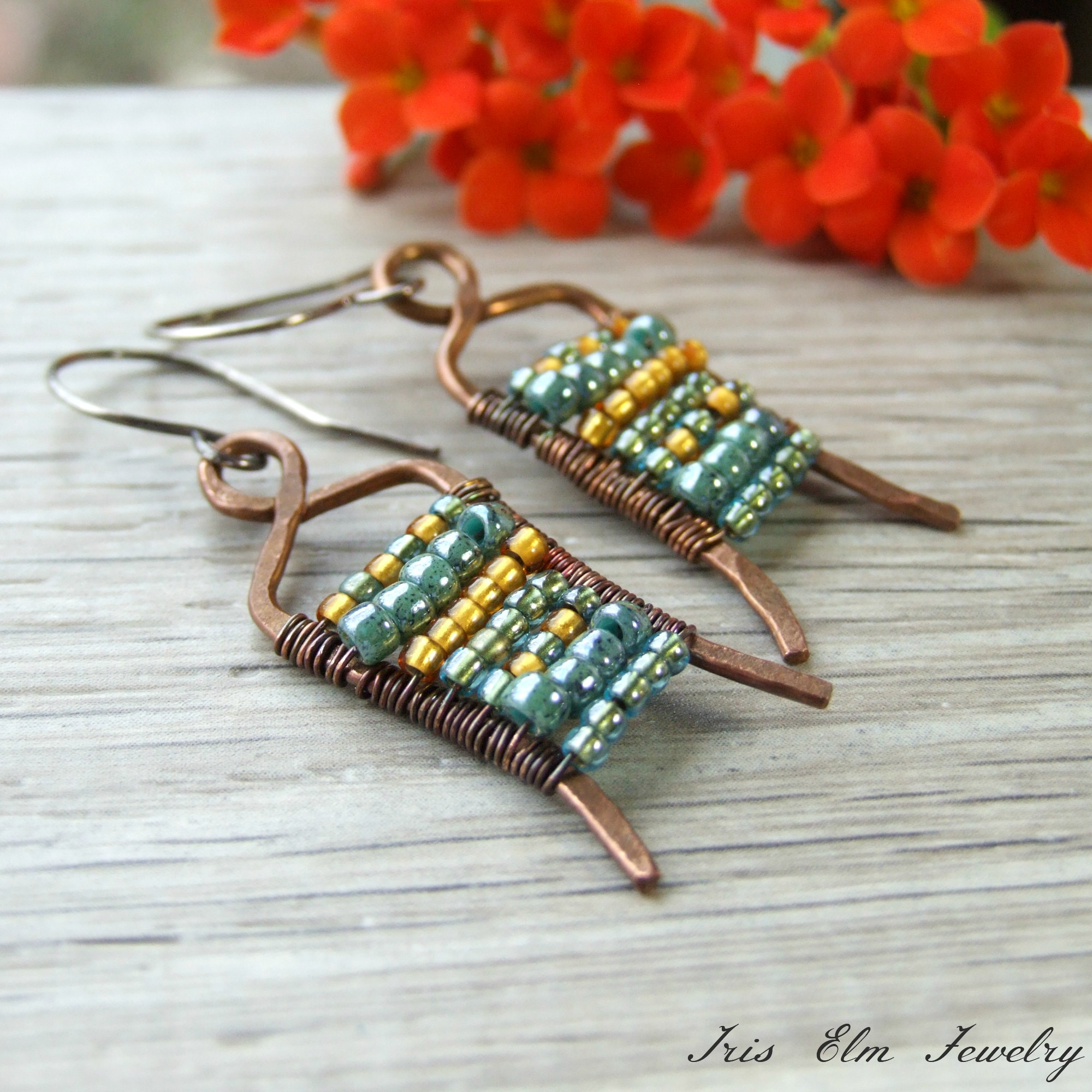 Unique Blue & Yellow Glass Beaded Copper Boho Earrings