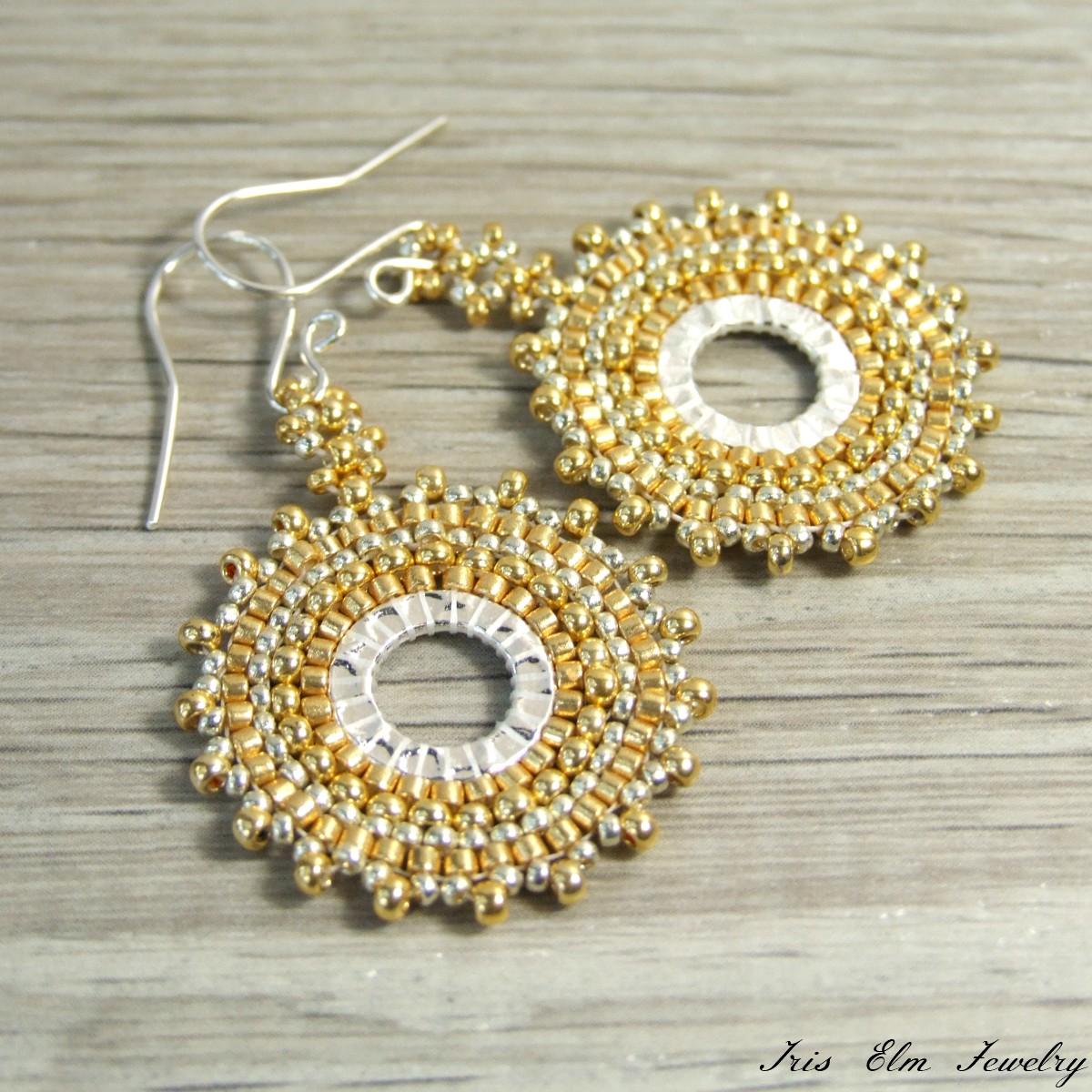 Gold Boho Woven Seed Bead Hoop Dangle Earrings