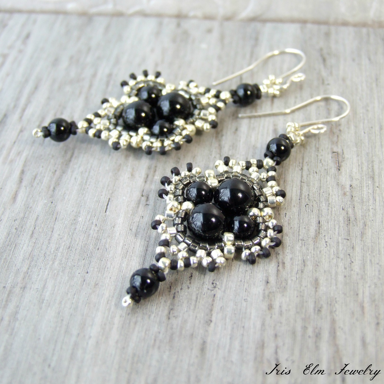 Black Onyx Bohemian Beaded Dangle Earrings