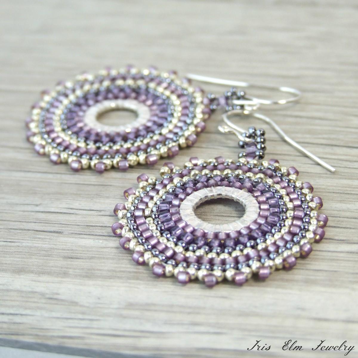 Purple Seed Bead Hoop Earrings