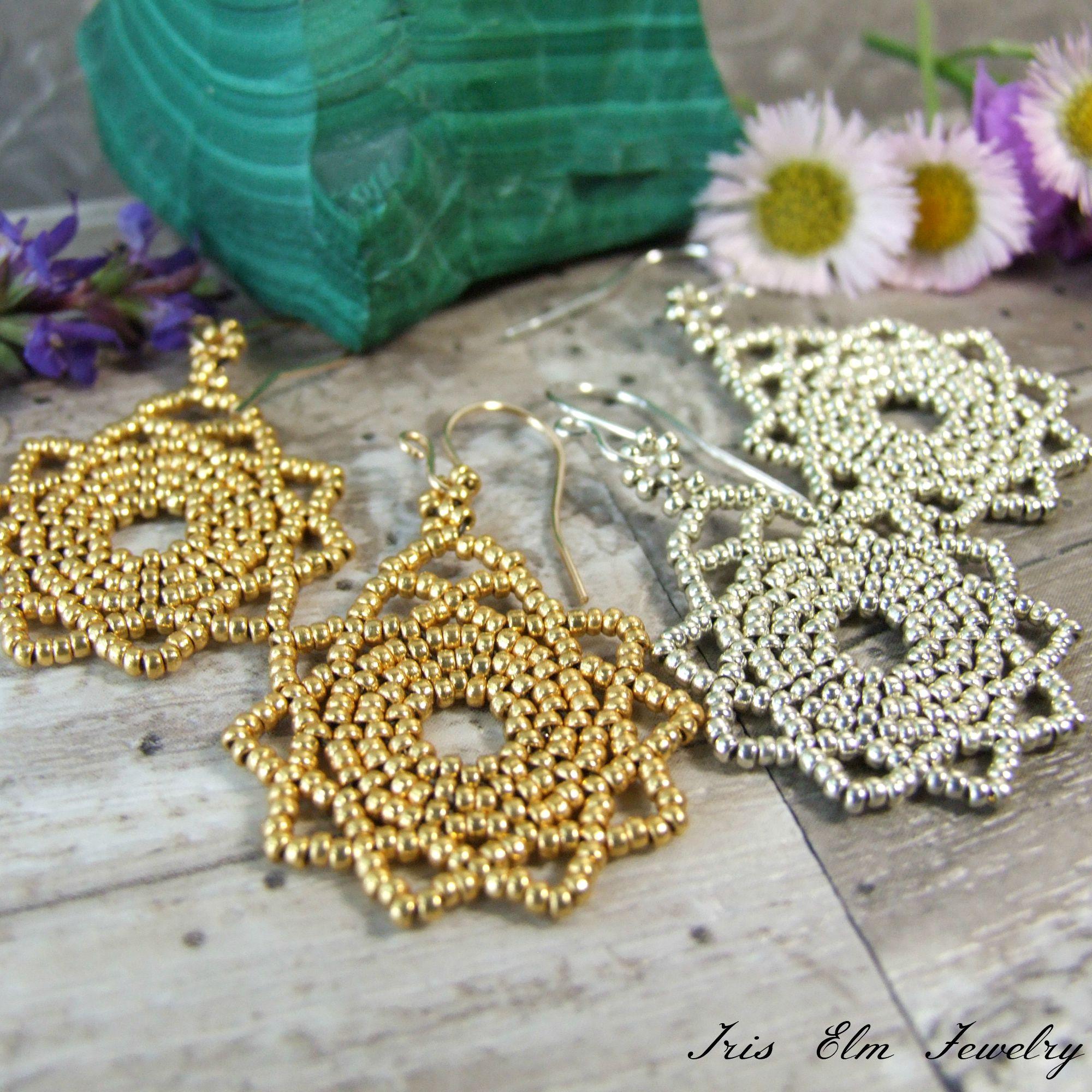 Small Beaded Boho Mandala Earrings in Silver or Gold