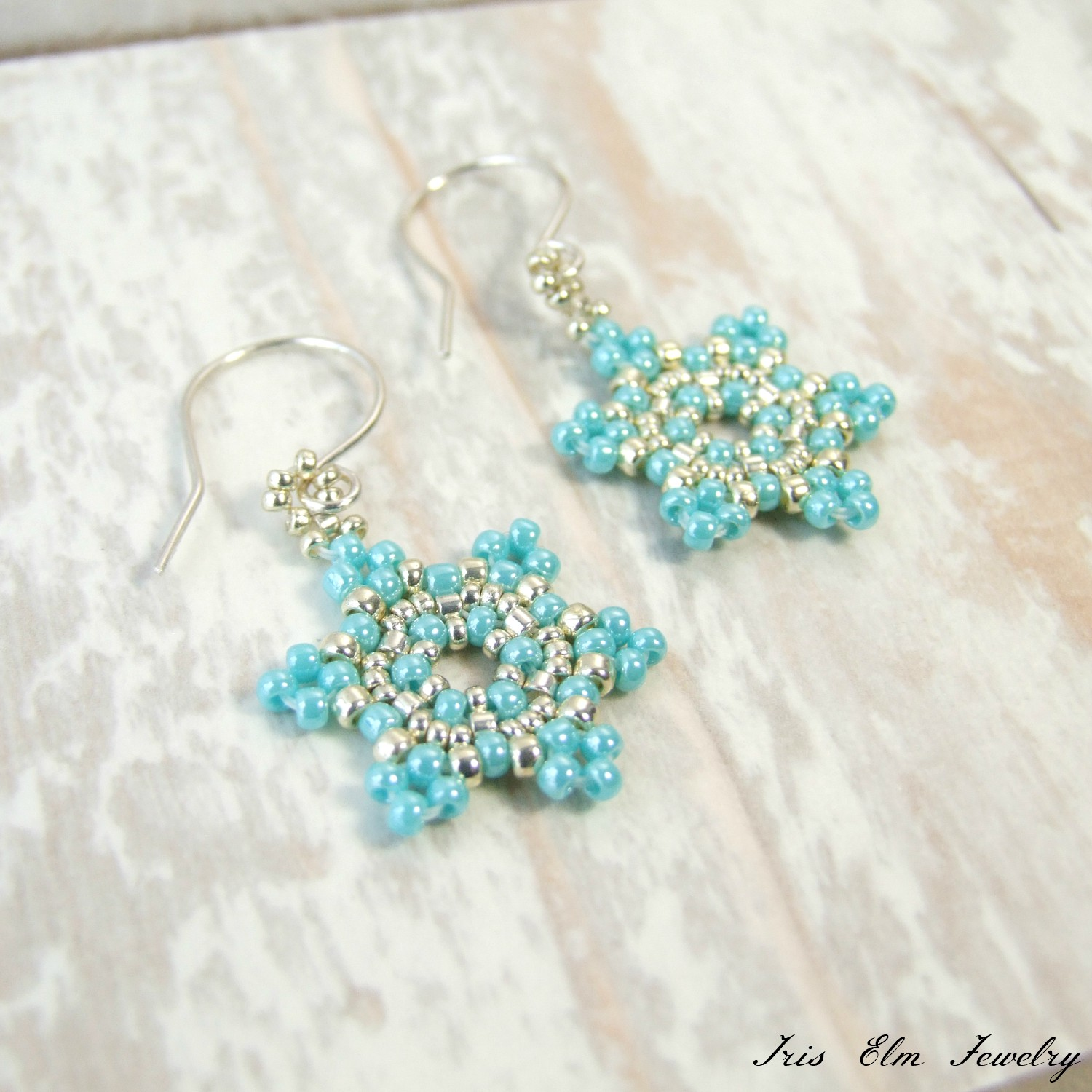 Turquoise Blue & Silver Beadwoven Glass Snowflake Earrings