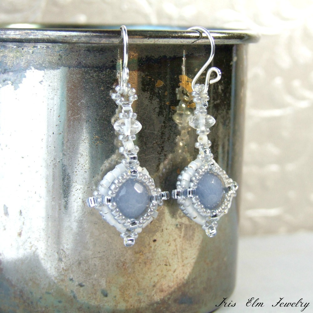 Angelite Drop Earrings with Quartz Crystal