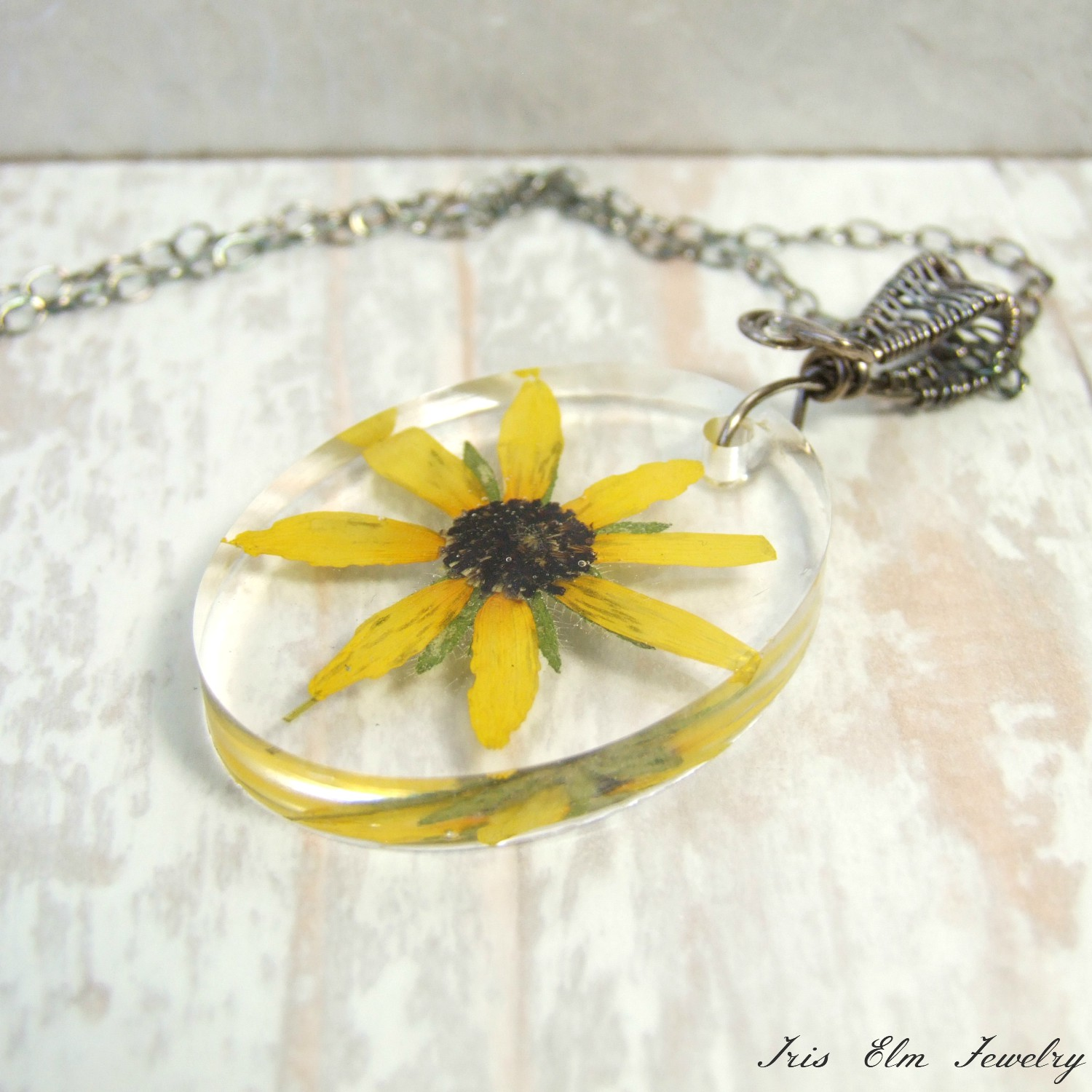 Oxidized Silver Black-Eyed Susan Sunflower Pendant Necklace
