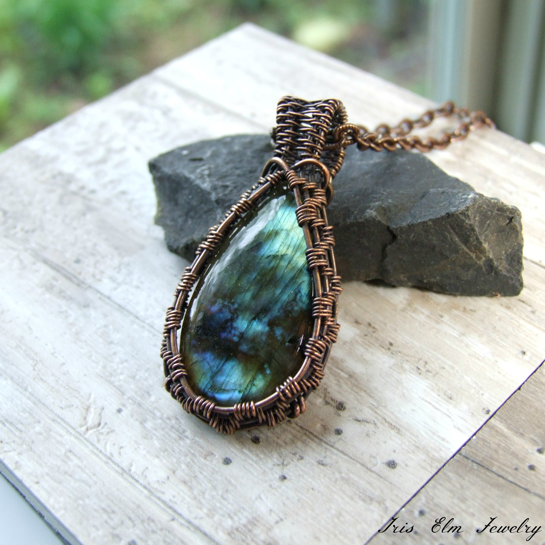 Teardrop Labradorite Copper Wire Wrapped Pendant Necklace