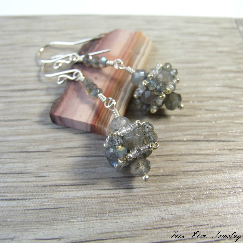 Beadwork Faceted Labradorite Dangle Earrings