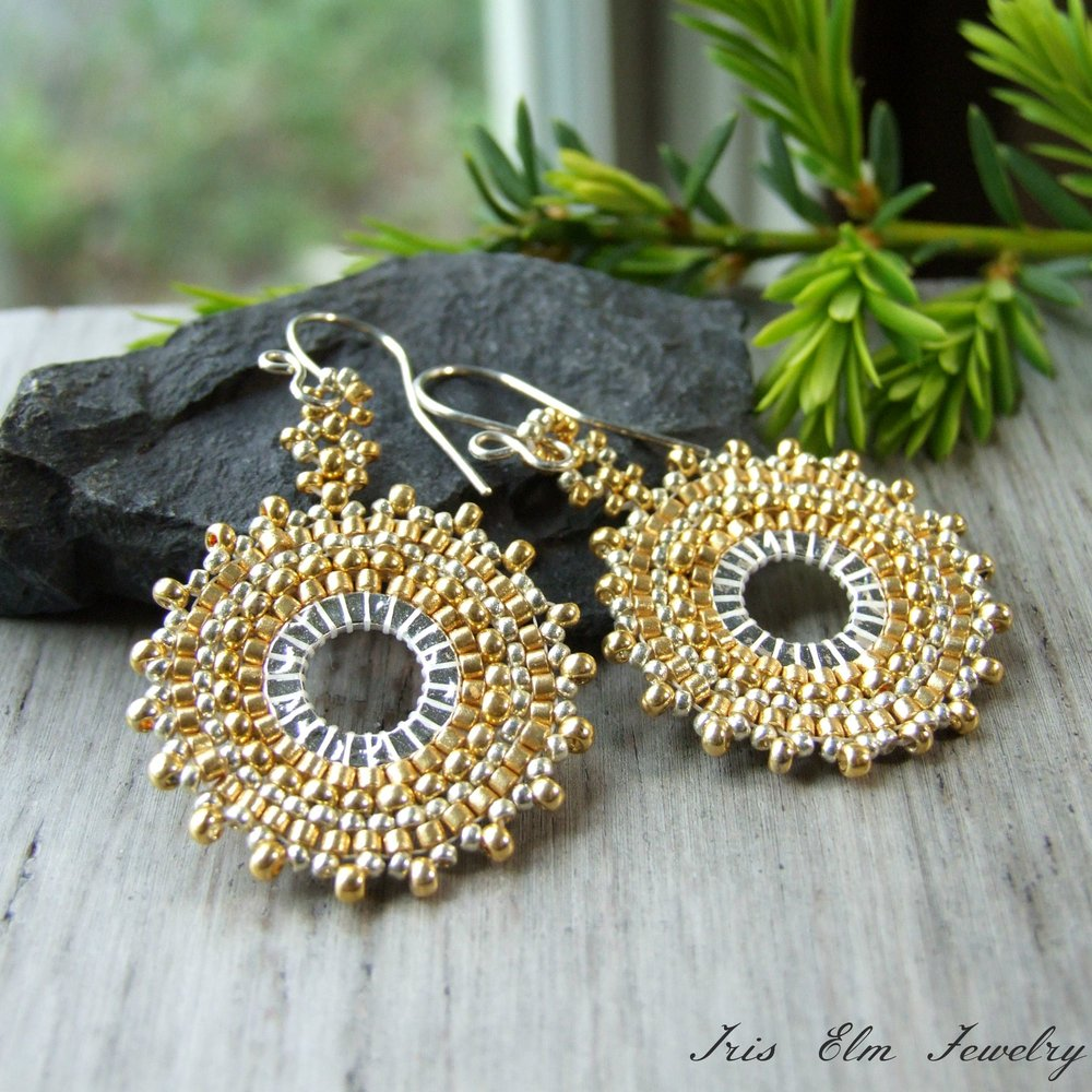 A unique Pair of golden Sterling Silver Hoops with glas beads  handmade earrings miyuki beads glass beads