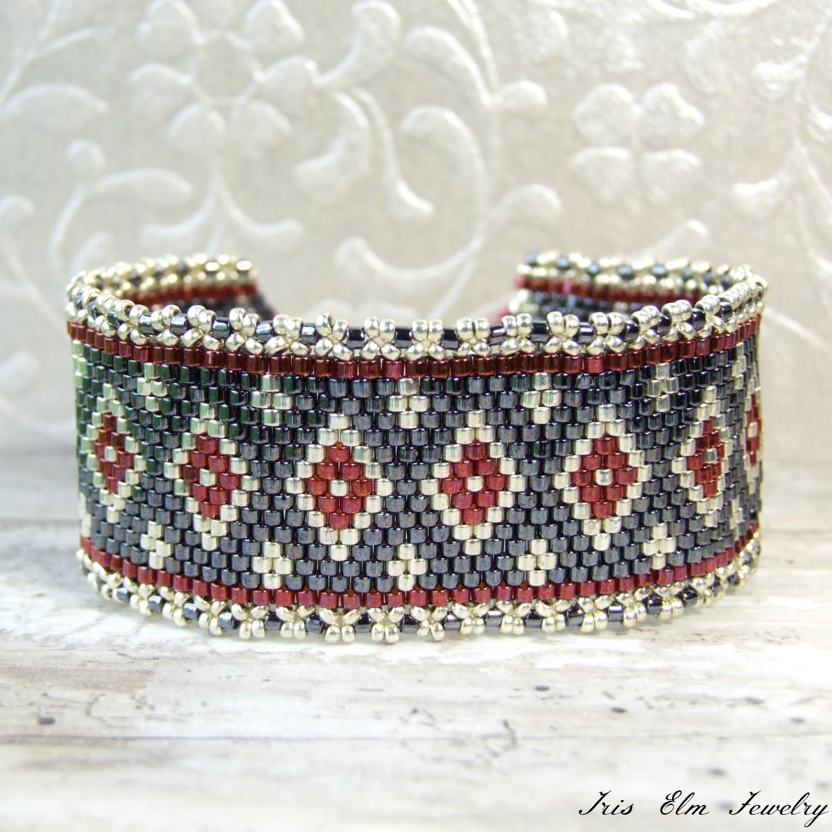 Woven Diamond Glass Bead Bracelet