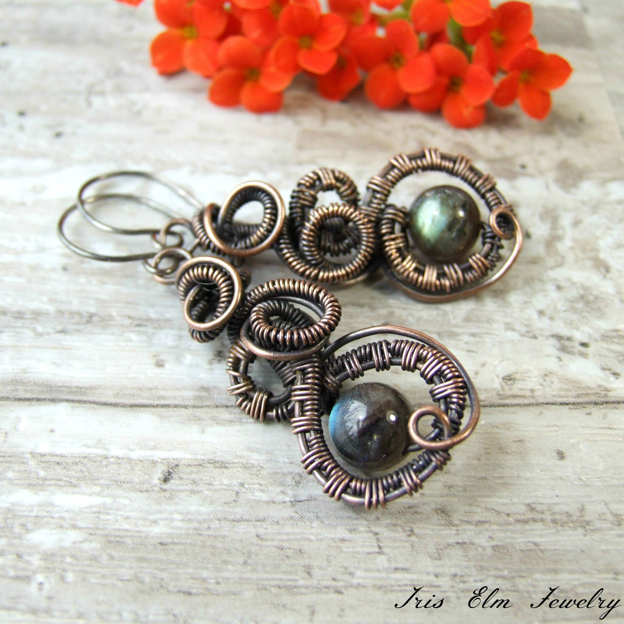 Copper Wire Wrapped Labradorite Steampunk Earrings