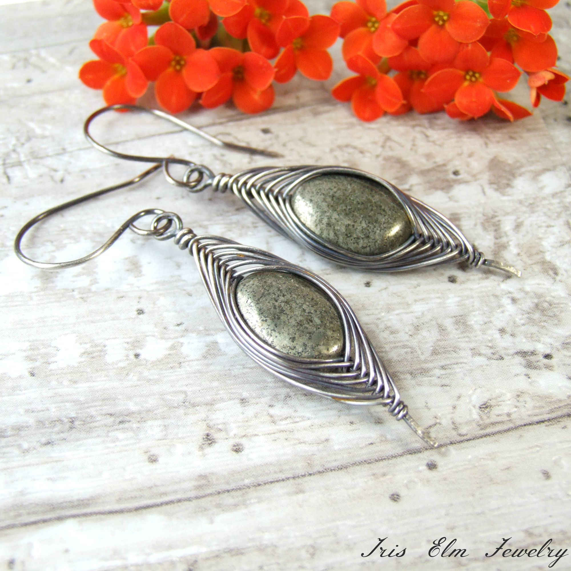 Pyrite Oxidized Silver Herringbone Wire Wrapped Earrings