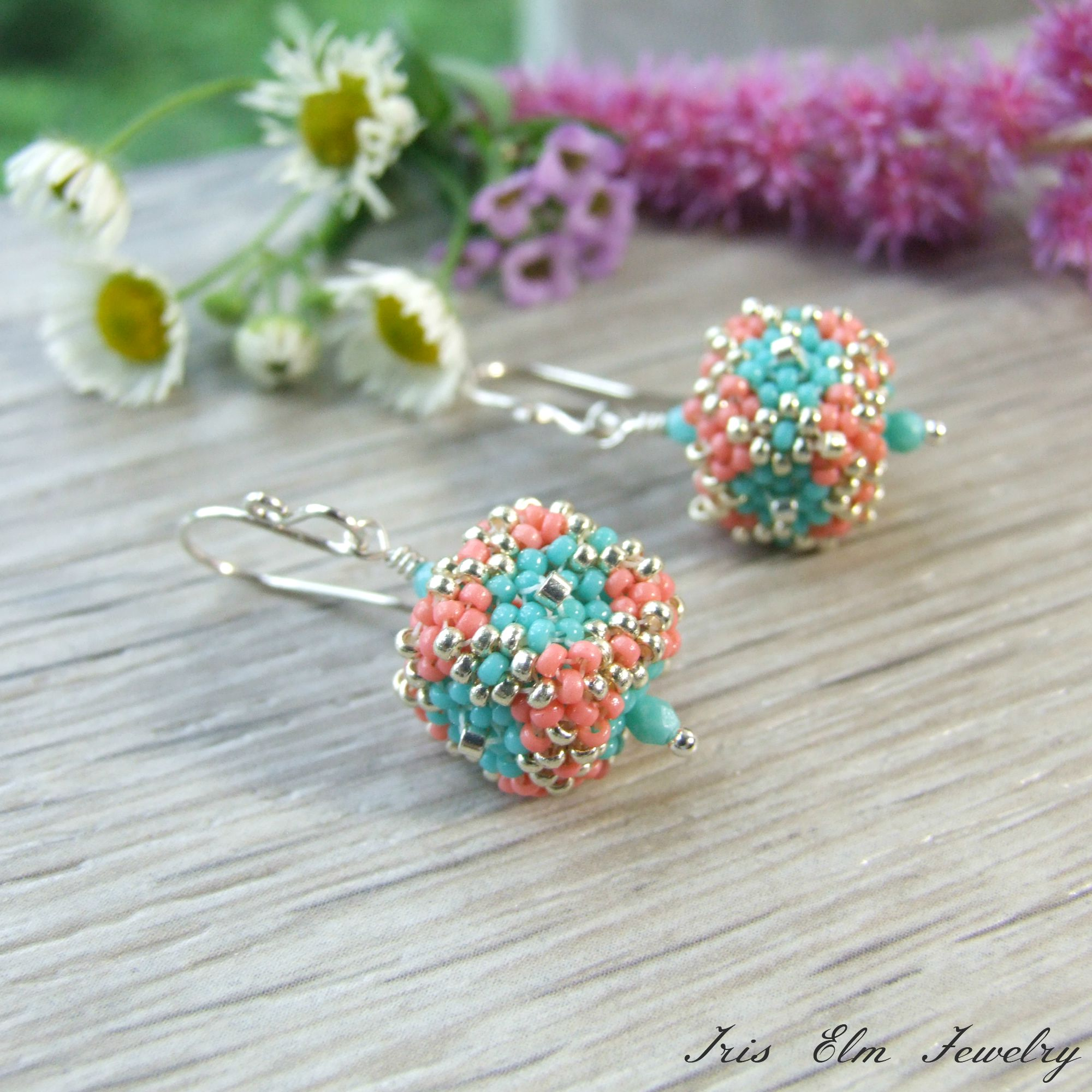 Coral & Turquoise Blue Glass Beadwoven Cube Drop Earrings