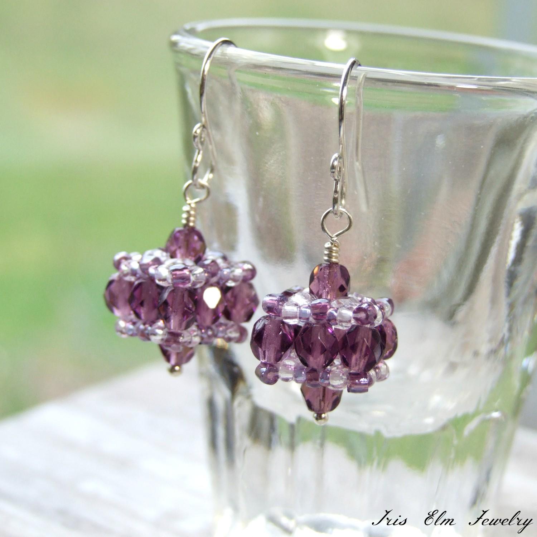 Edwardian Style Czech Glass Beadwork Small Drop Earrings